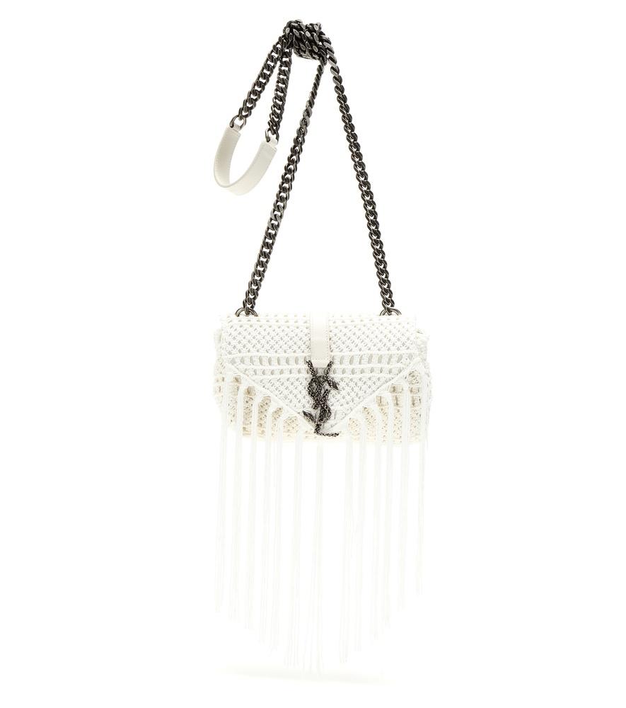 monogram crochet fringe clutch bag white yves saint. Black Bedroom Furniture Sets. Home Design Ideas