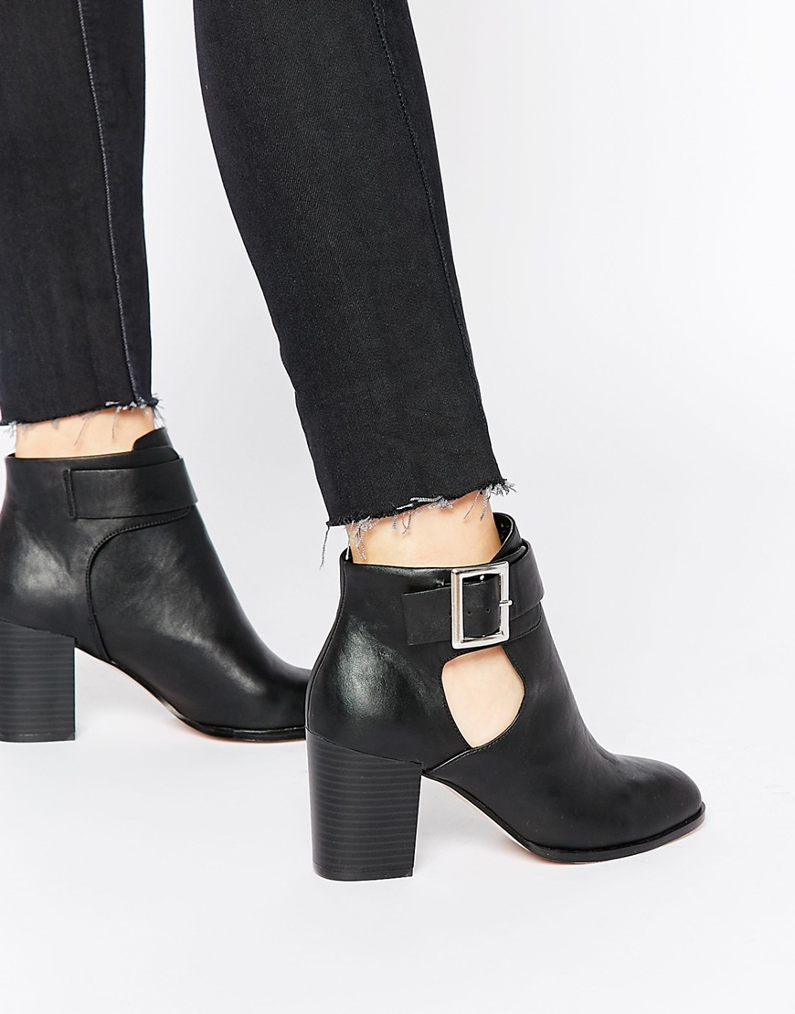 Asos Eversleigh Cut Out Ankle Boots in Black | Lyst