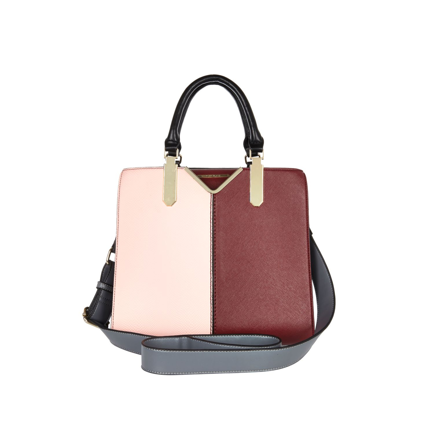 River Island Light Pink Colour Block Tote Bag In Pink Lyst