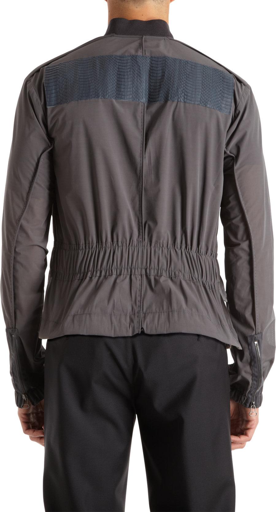 Lanvin Snakeskin Bomber Jacket in Gray for Men   Lyst