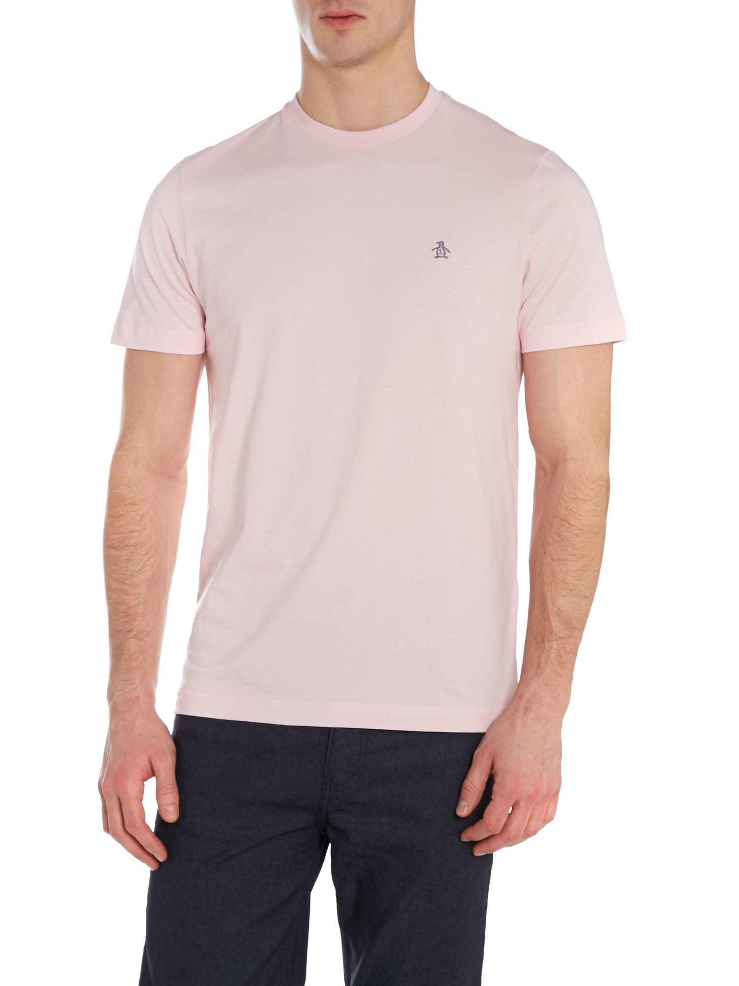 original penguin embroidered cotton t shirt in pink for. Black Bedroom Furniture Sets. Home Design Ideas