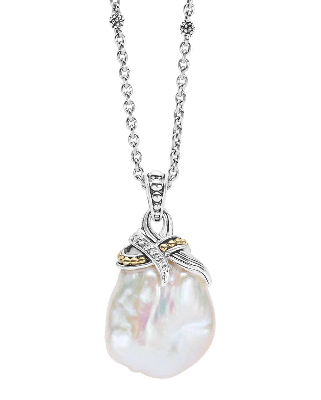 Lyst Lagos Luna Baroque Pearl Pendant Necklace In Metallic