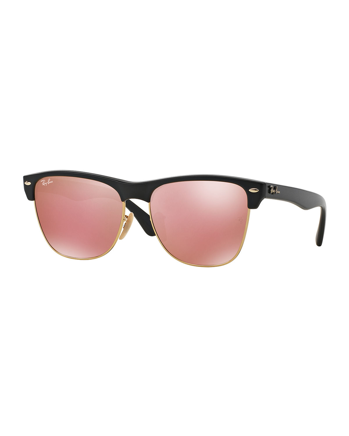 Lyst Ray Ban Clubmaster Sunglasses With Mirror Lens In Pink