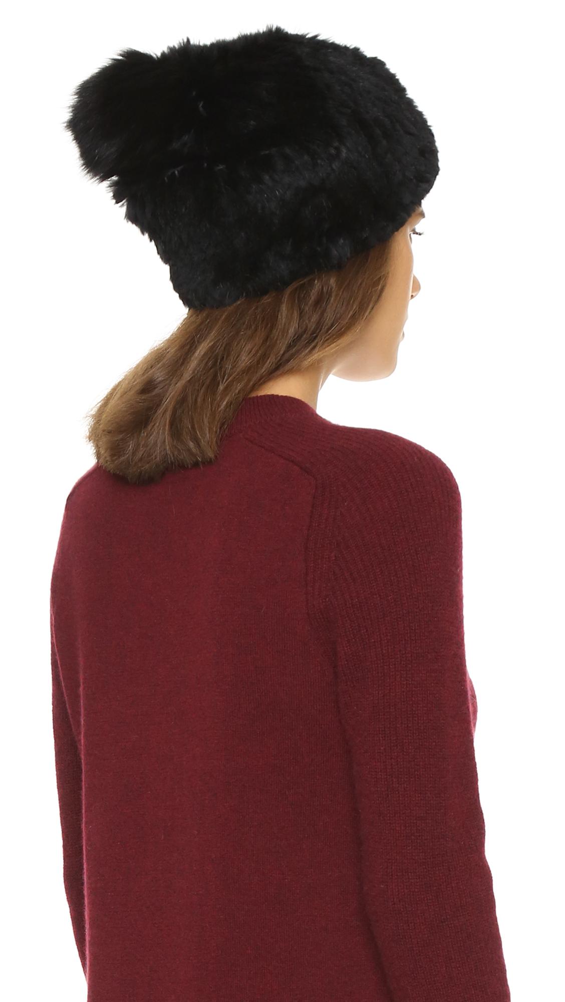 6185ff66d946 Adrienne Landau Knit Fur Pom Pom Hat in Black - Lyst