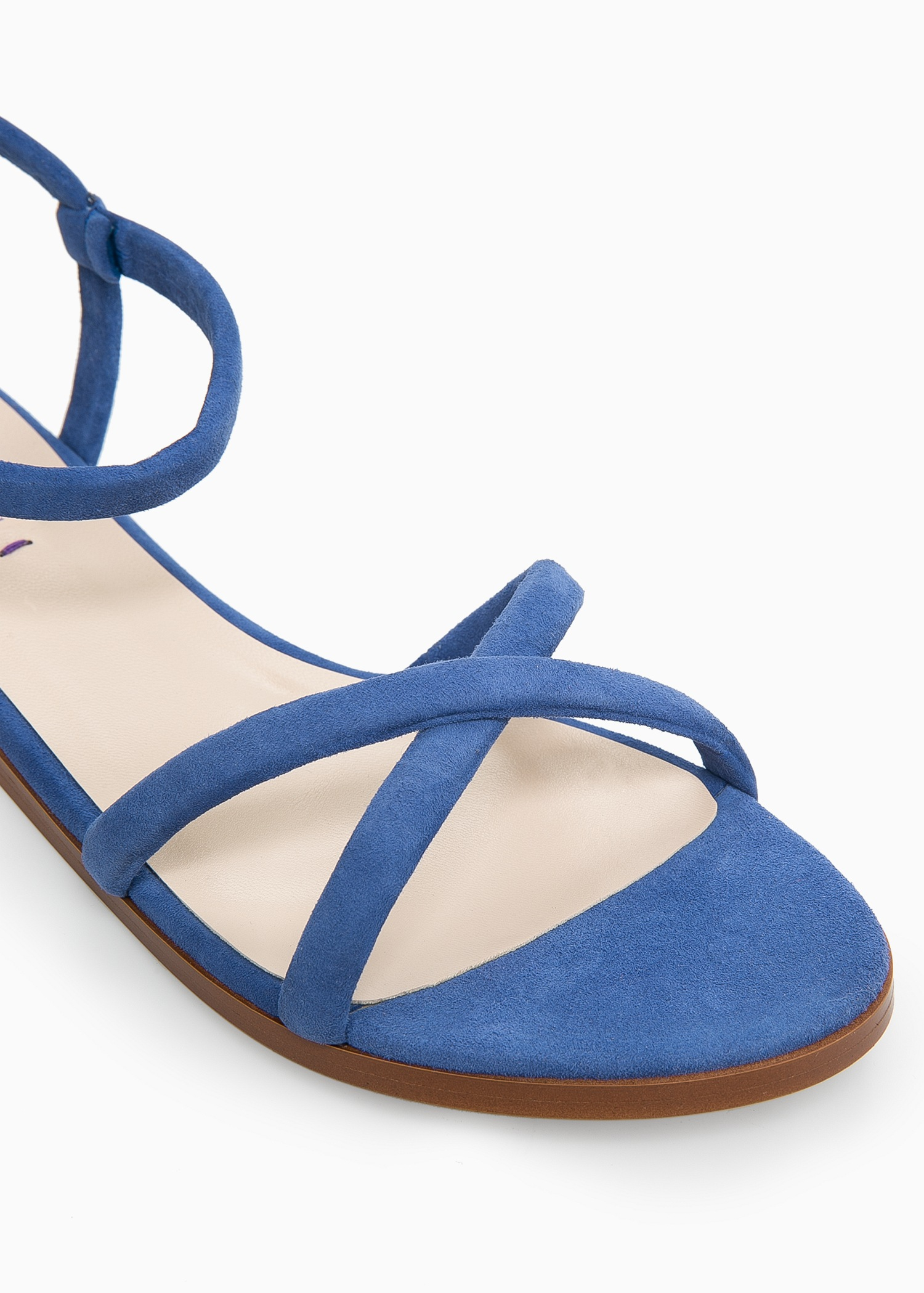Blue Suede Flat Shoes