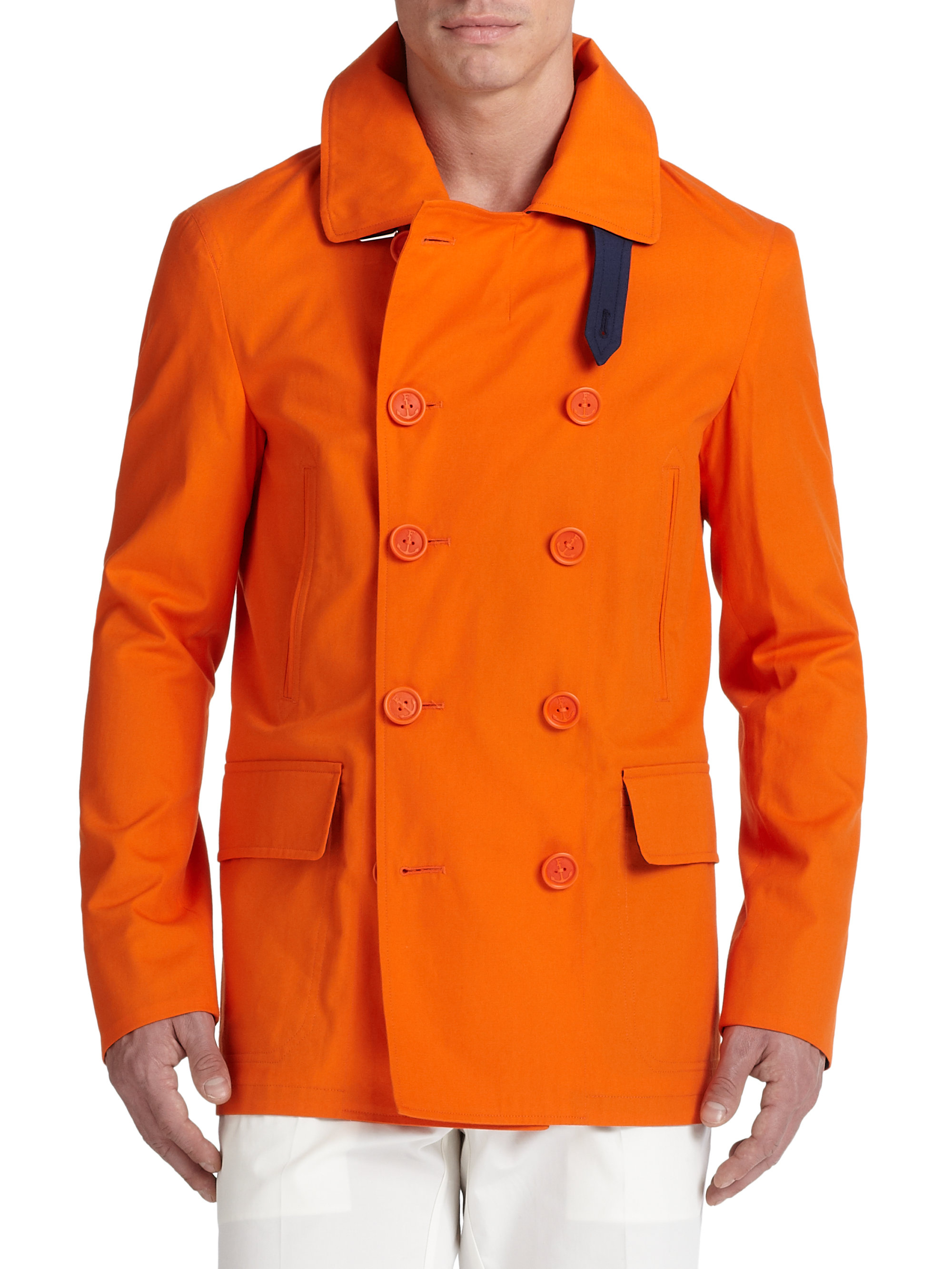 F. faconnable Double-breasted Cotton Peacoat in Orange for Men | Lyst