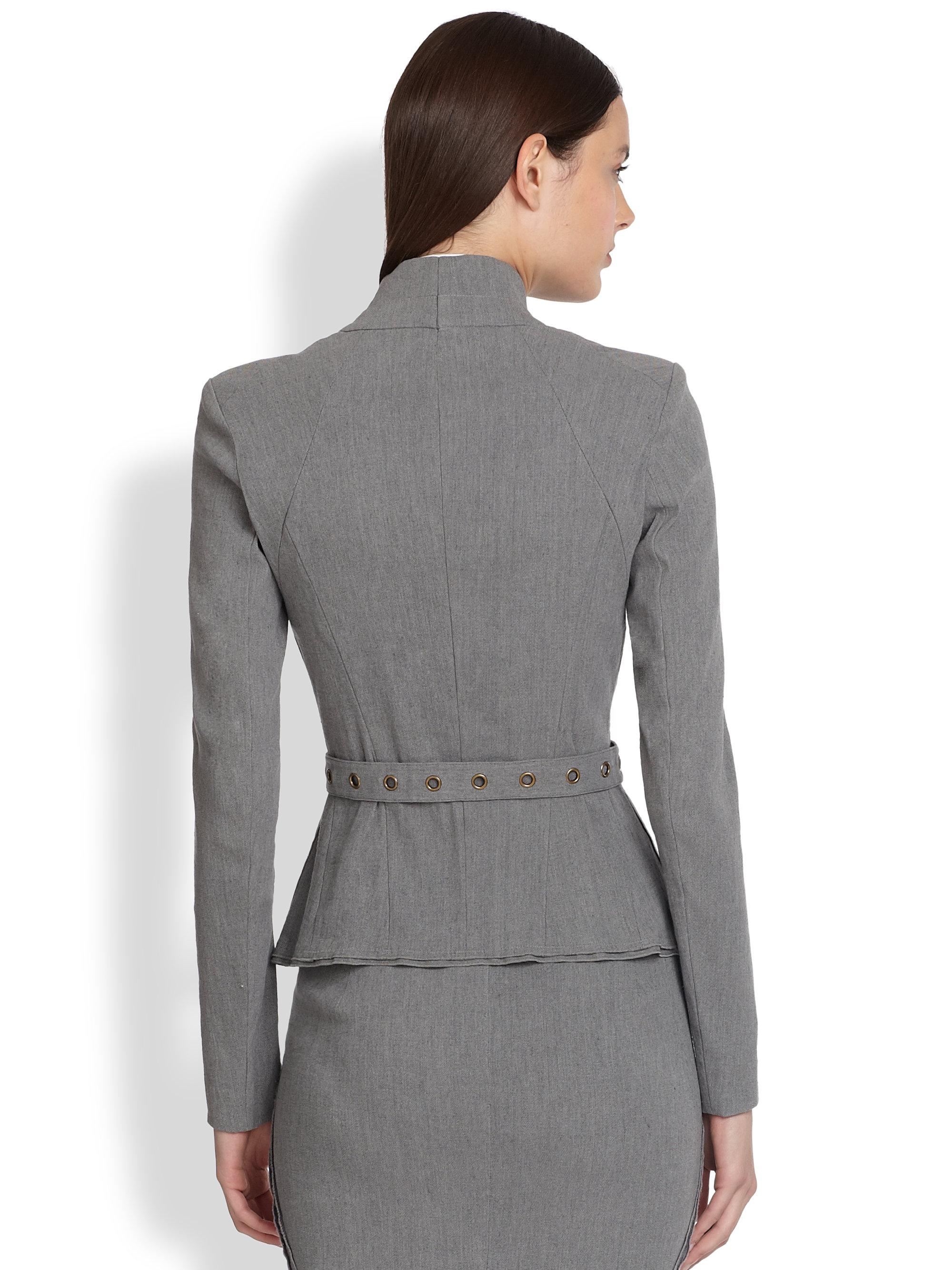 Lyst Donna Karan Belted Wrap Jacket In Gray