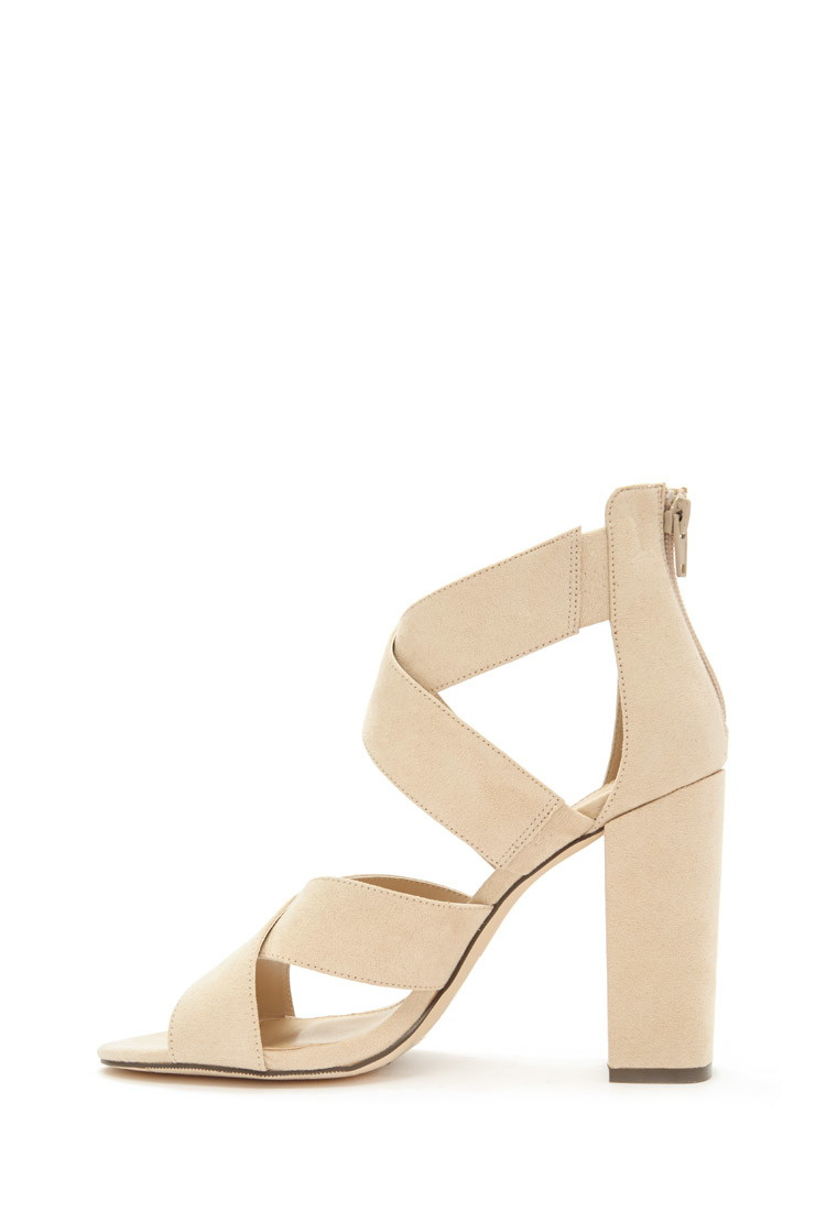 6f2dd5703b4 Lyst - Forever 21 Crisscross Faux Suede Sandals in Natural