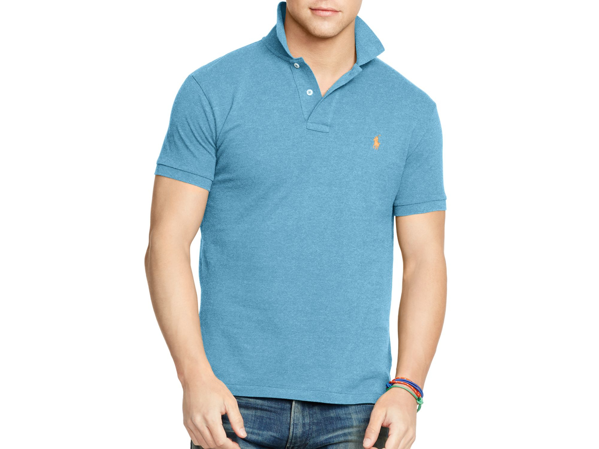e989cf01 ... clearance lyst polo ralph lauren slim fit mesh polo shirt in blue for  men b4991 2e5ed