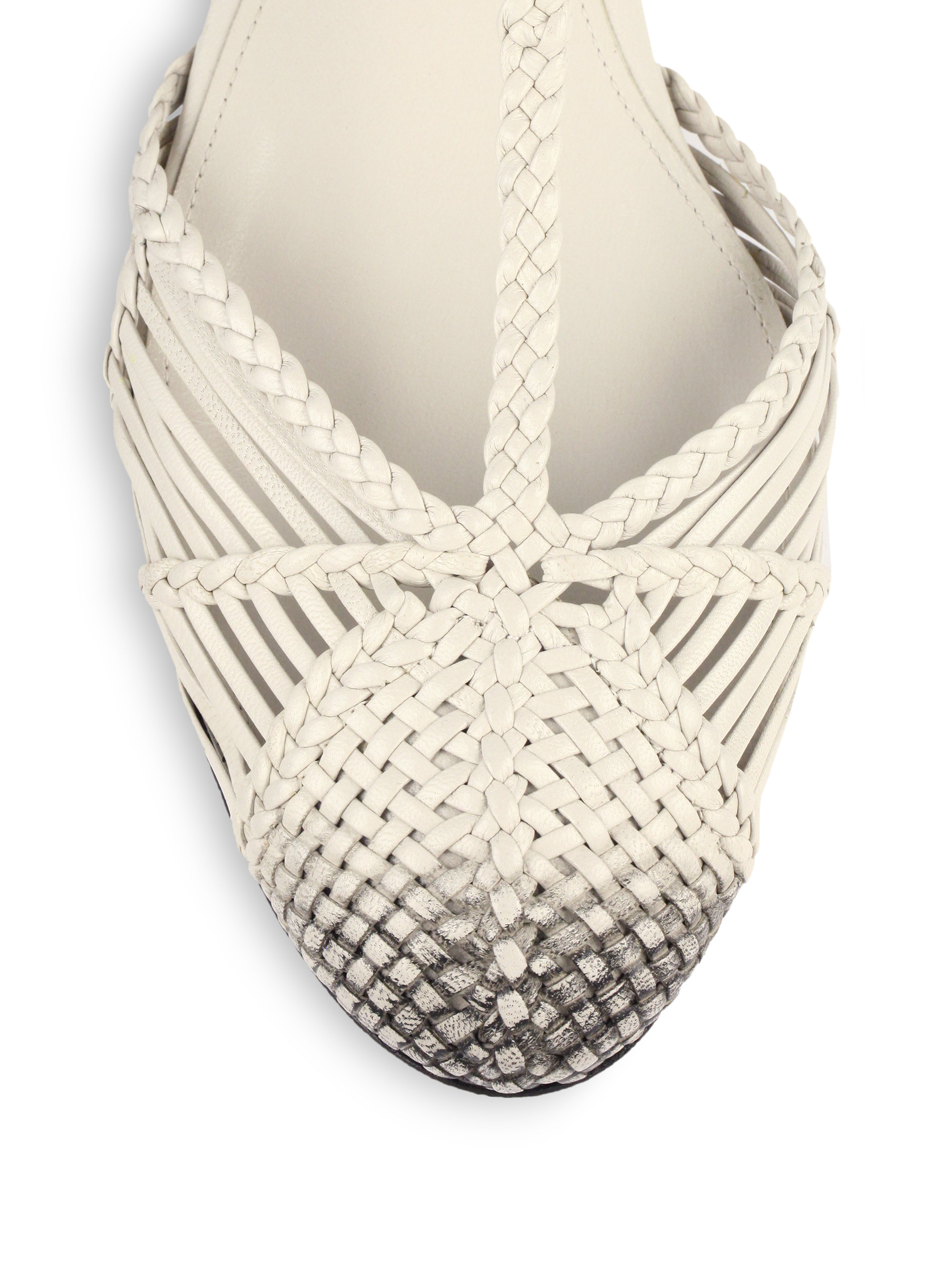 Lyst Bottega Veneta Woven Leather Flat Sandals In White