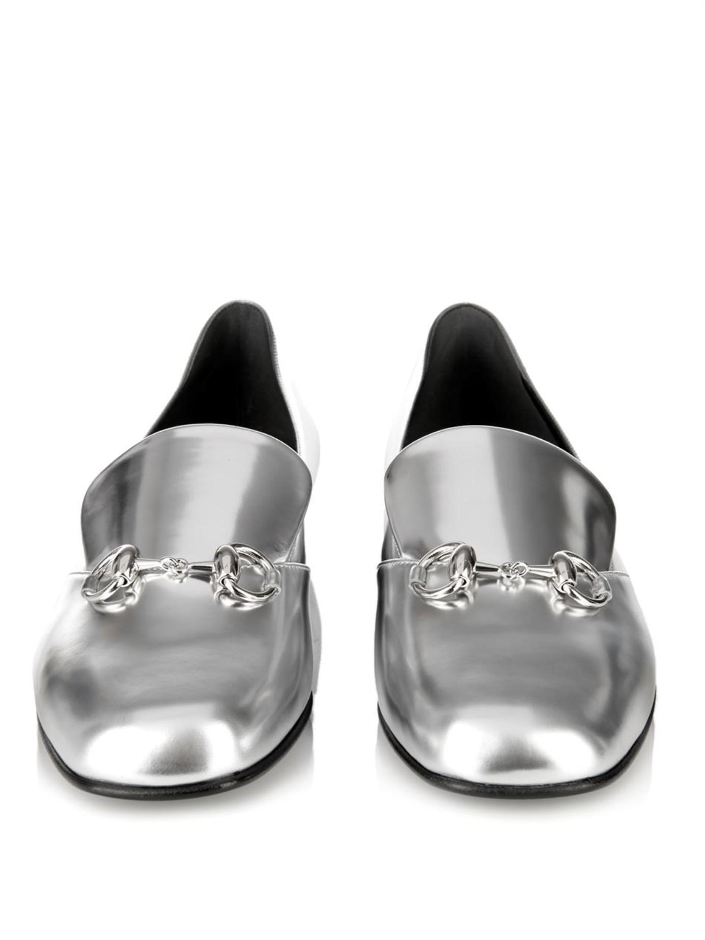 ccb91271556 Lyst - Gucci Kira Leather Horsebit Loafers in Metallic