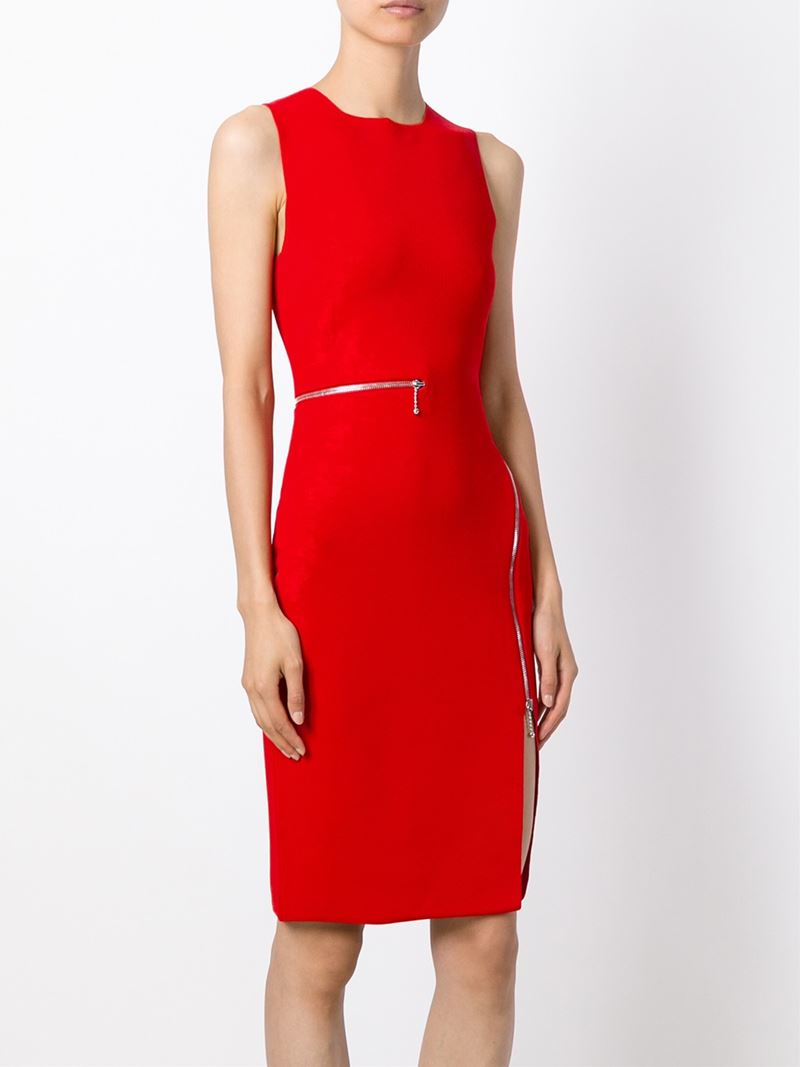Lyst Alexander Wang Zip Detailed Dress In Red