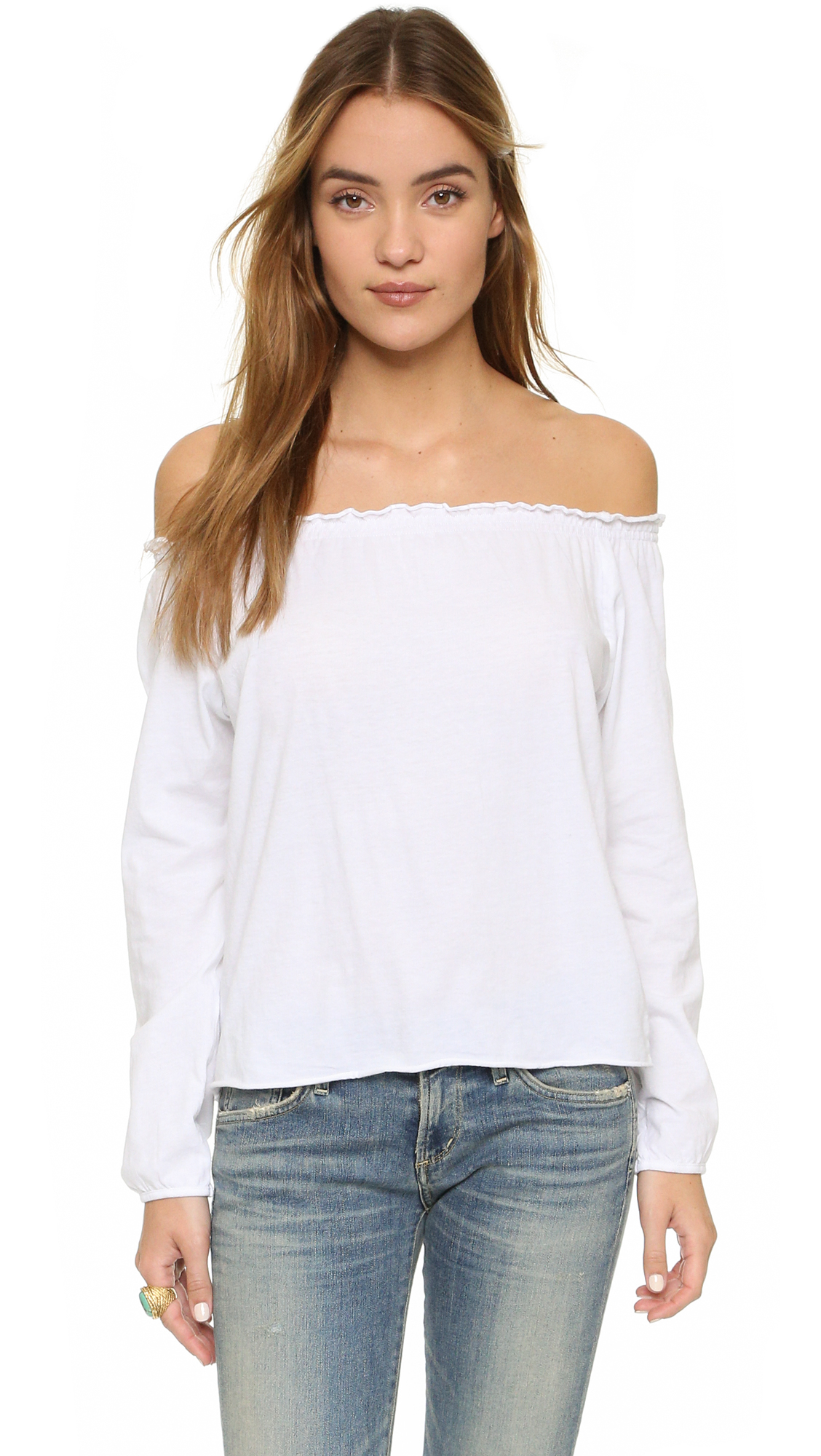 chaser off shoulder cotton peasant blouse in white lyst. Black Bedroom Furniture Sets. Home Design Ideas