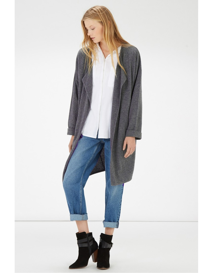 Warehouse Cashmere Cardigan in Gray | Lyst
