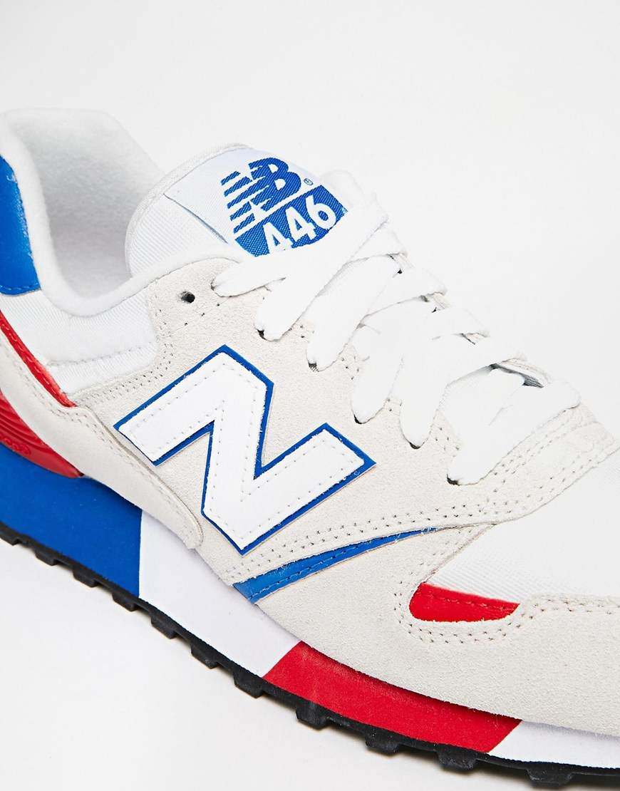 new balance 446 white & red suede mix trainers