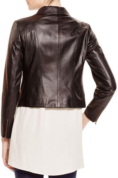 Eileen Fisher Lamb Leather Moto Jacket In Black Lyst