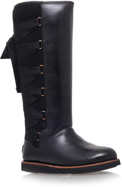 ugg black augustine kneehigh leather boots in black lyst