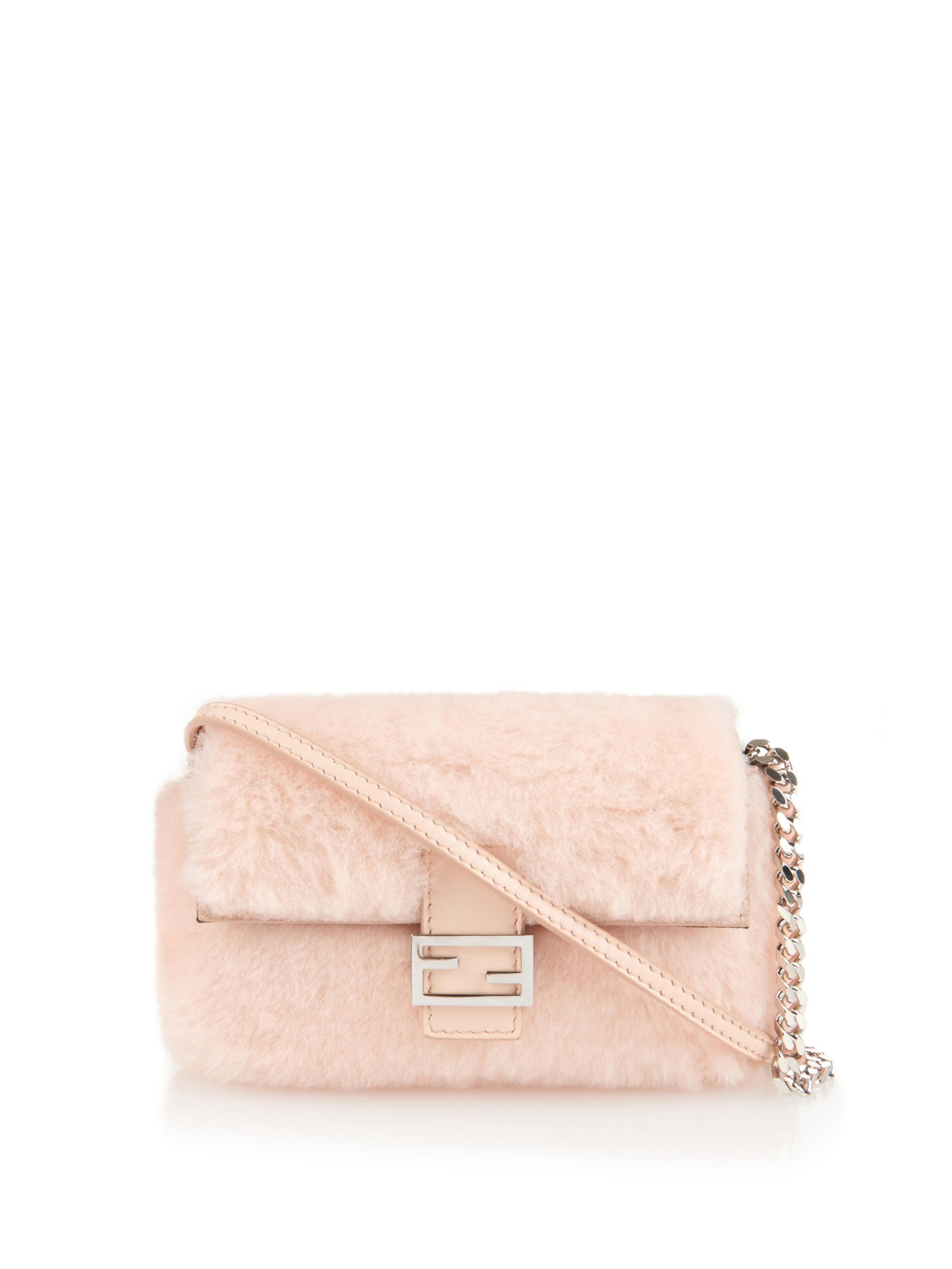 Fendi Baguette Micro Leather-trimmed Shearling Shoulder Bag in Pink ... e8fd9ed076d3e