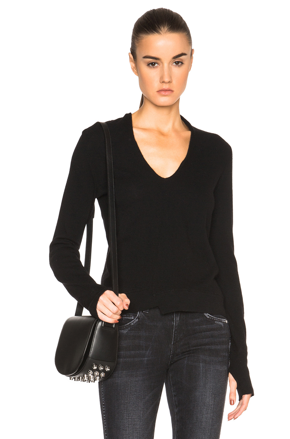 Inhabit Cashmere Thumbhole V-neck Sweater in Black | Lyst