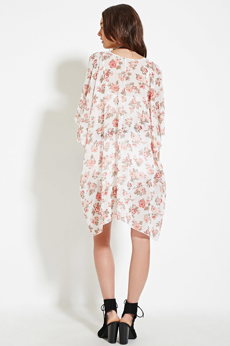Forever 21 Rose Print Chiffon Kimono in Natural | Lyst