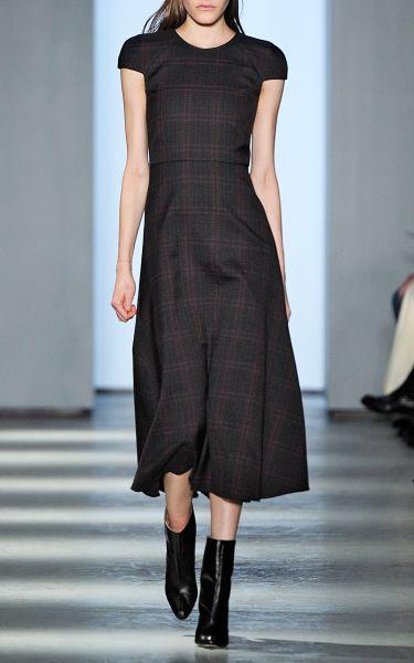 Wes Gordon Houndstooth Plaid Short Sleeve Bell Skirt Dress