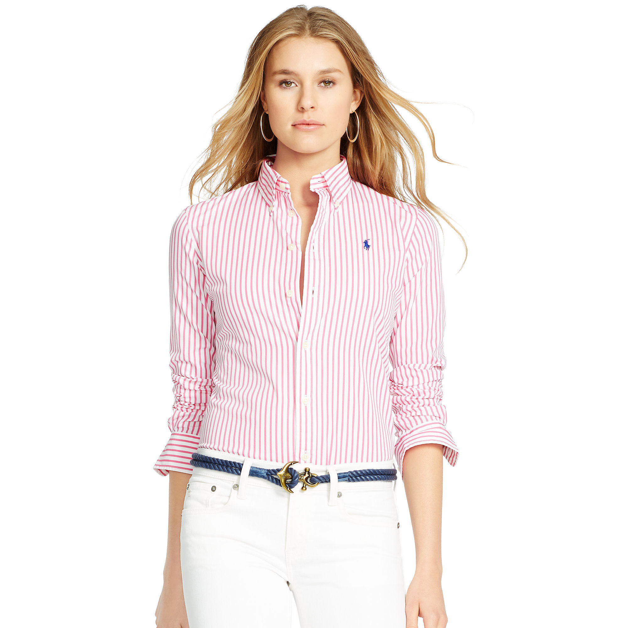 872f5a097 Polo Ralph Lauren Custom-fit Striped Shirt in Pink - Lyst