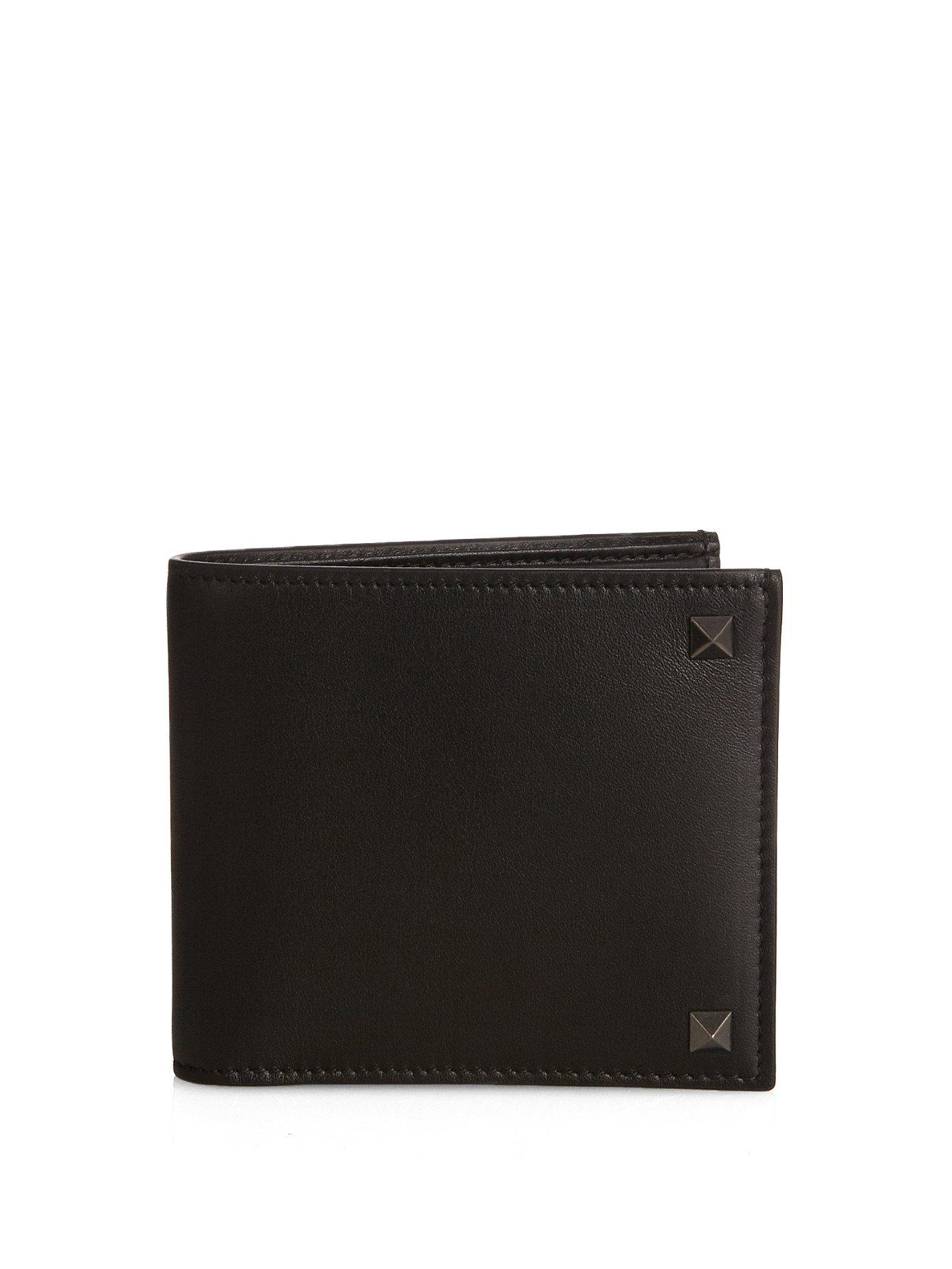 Valentino Rockstud Bi-fold Leather Wallet in Black for Men | Lyst