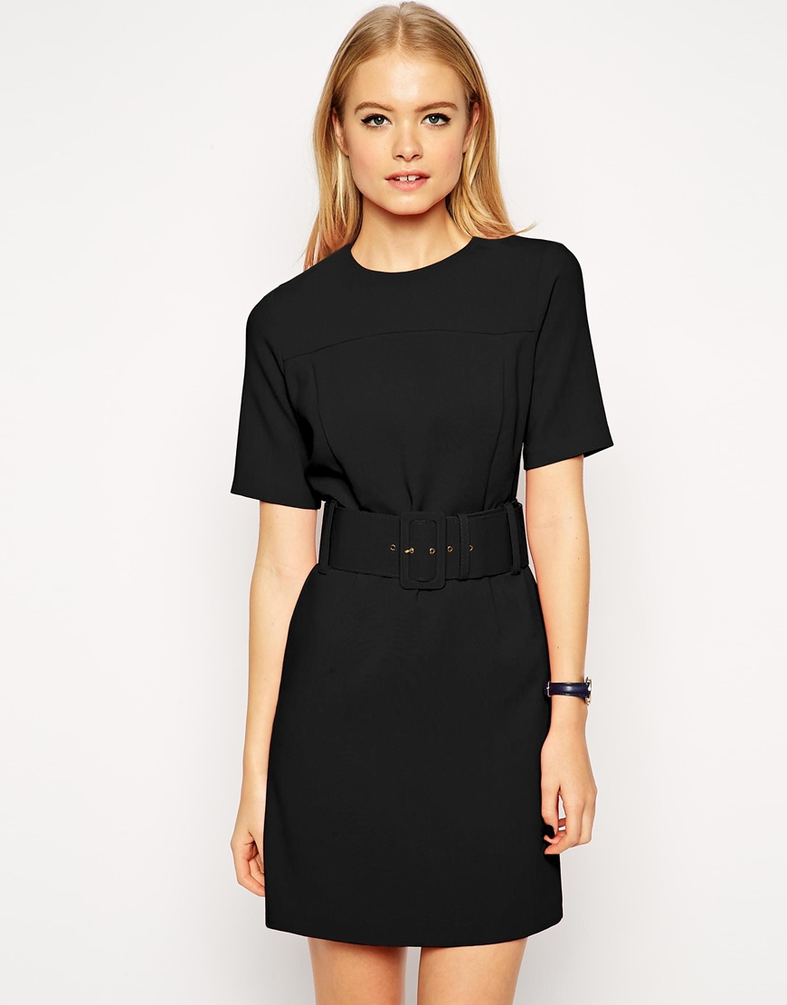 asos wide belt a line skater dress in black lyst