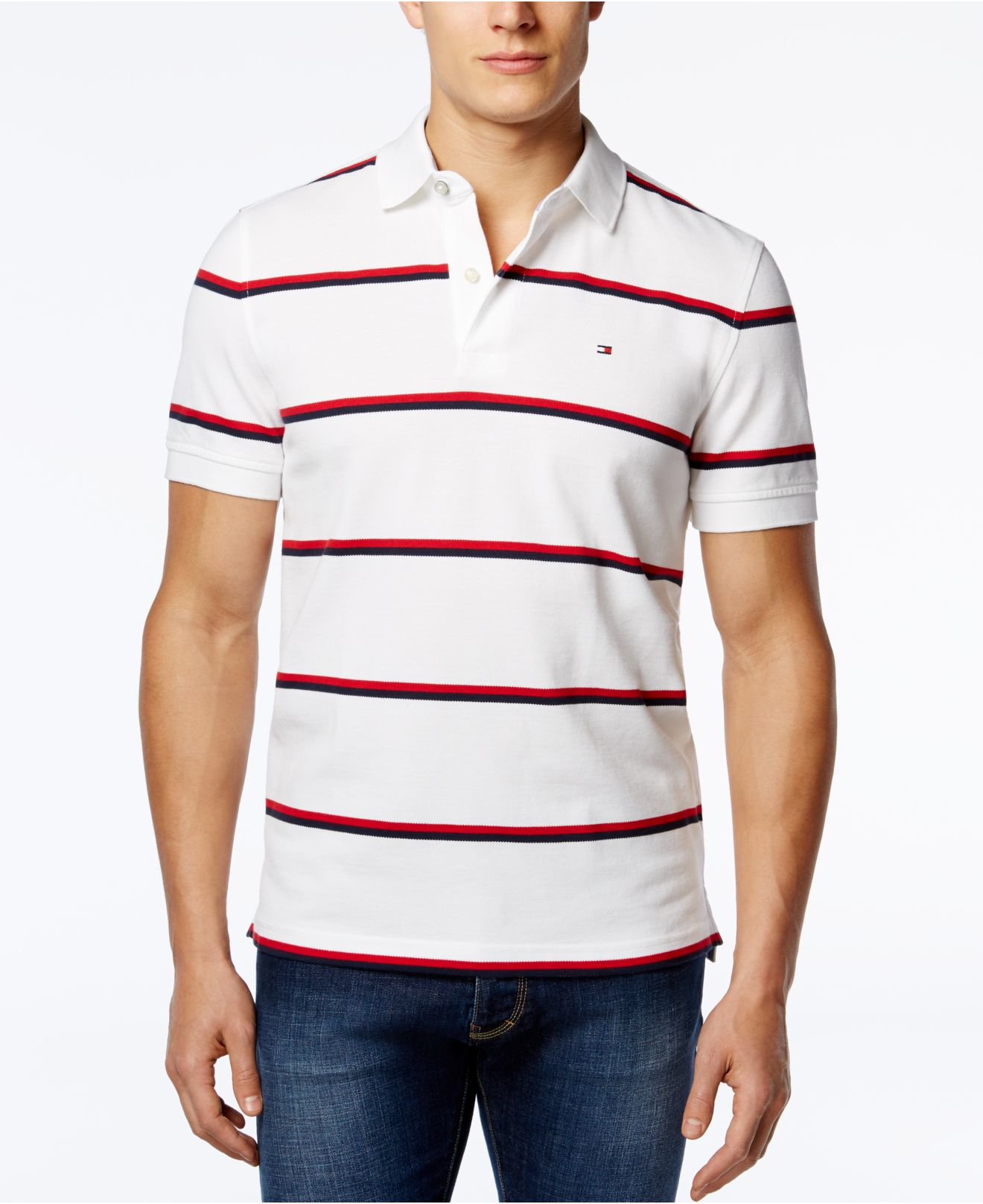 860b742b Lyst - Tommy Hilfiger Andrew Stripe Polo in Red for Men