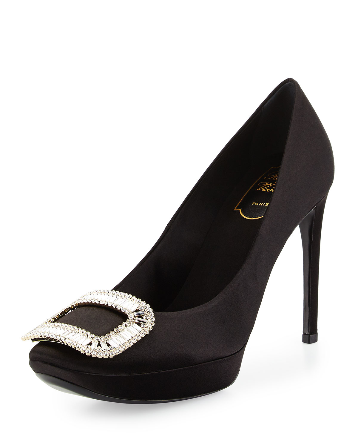 85a2db428ad3 Lyst - Roger Vivier Limelight Satin Crystal-Buckle Pump in Black