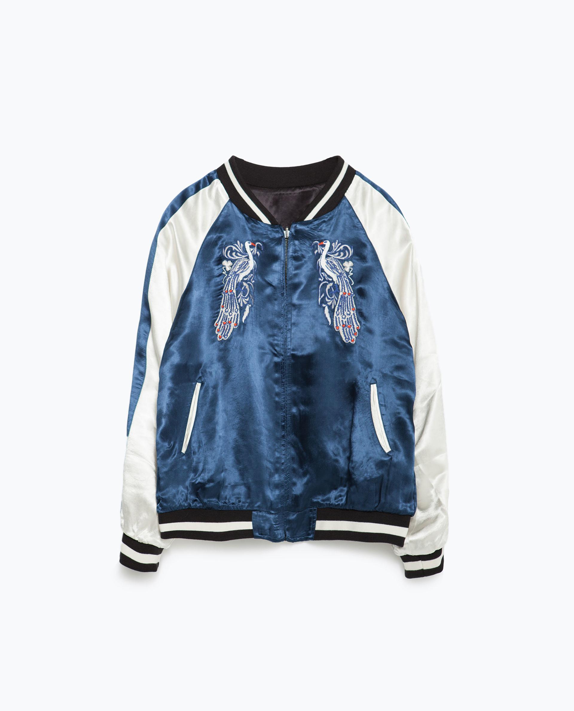 Zara embroidered studio bomber jacket in blue lyst