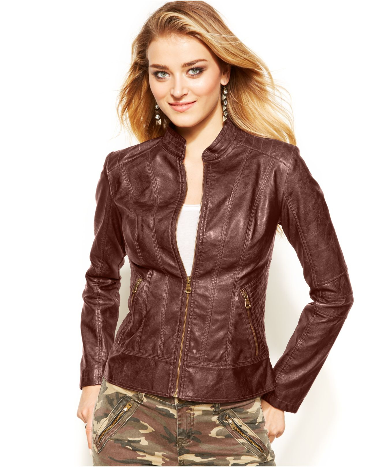 Guess Faux-Leather Jacket in Brown   Lyst