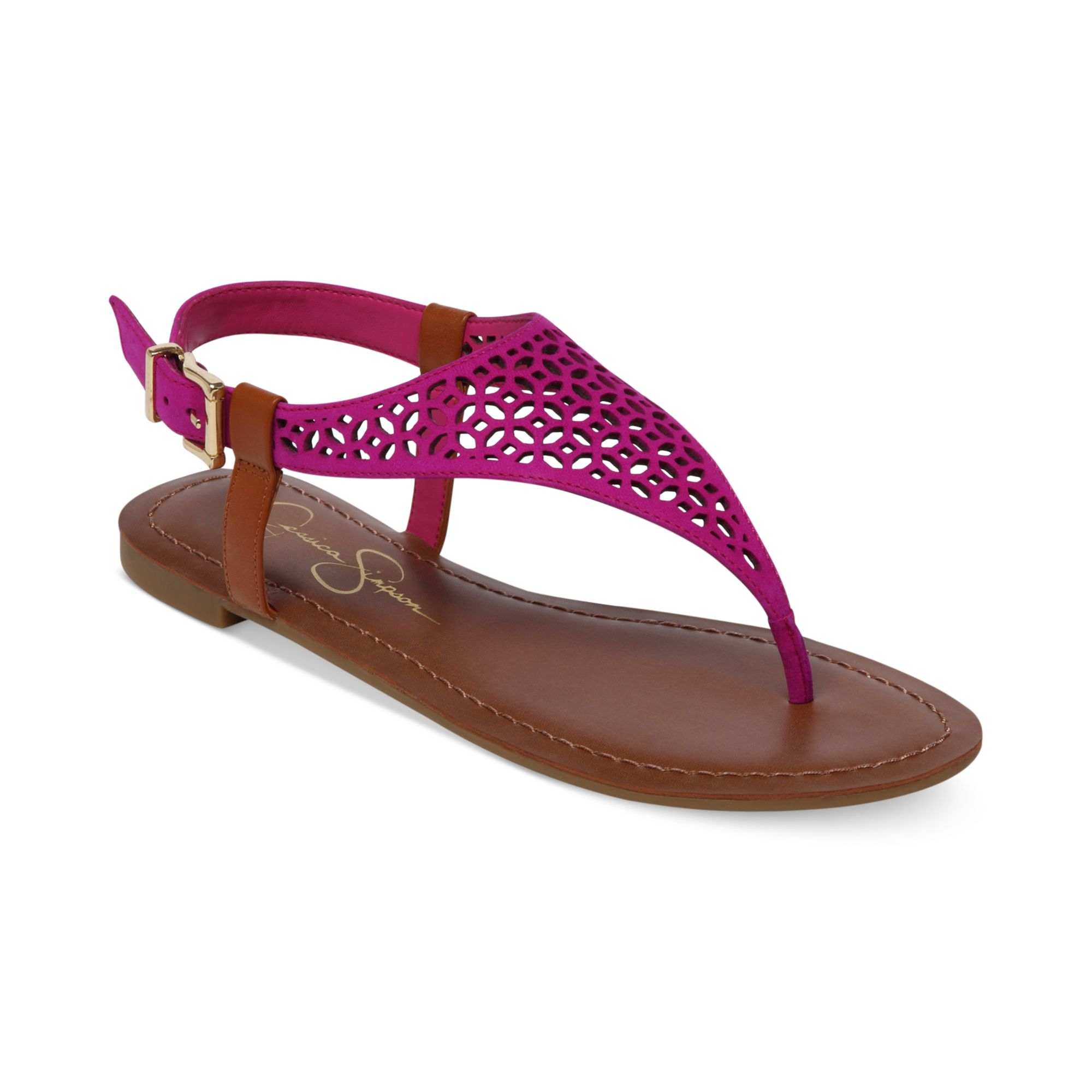 lyst - jessica simpson grile flat thong sandals in purple