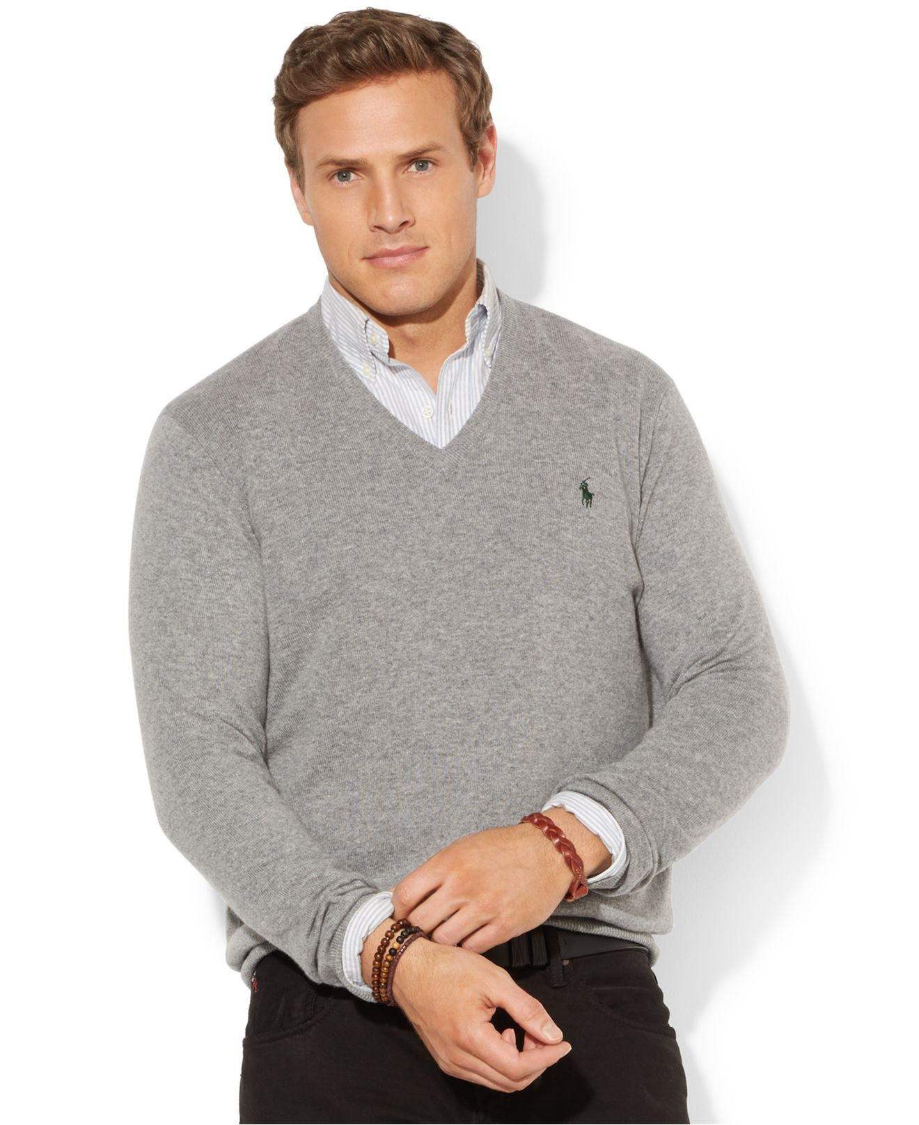 2b1e36187 Polo Ralph Lauren Big And Tall Merino Wool V-Neck Sweater in Gray ...