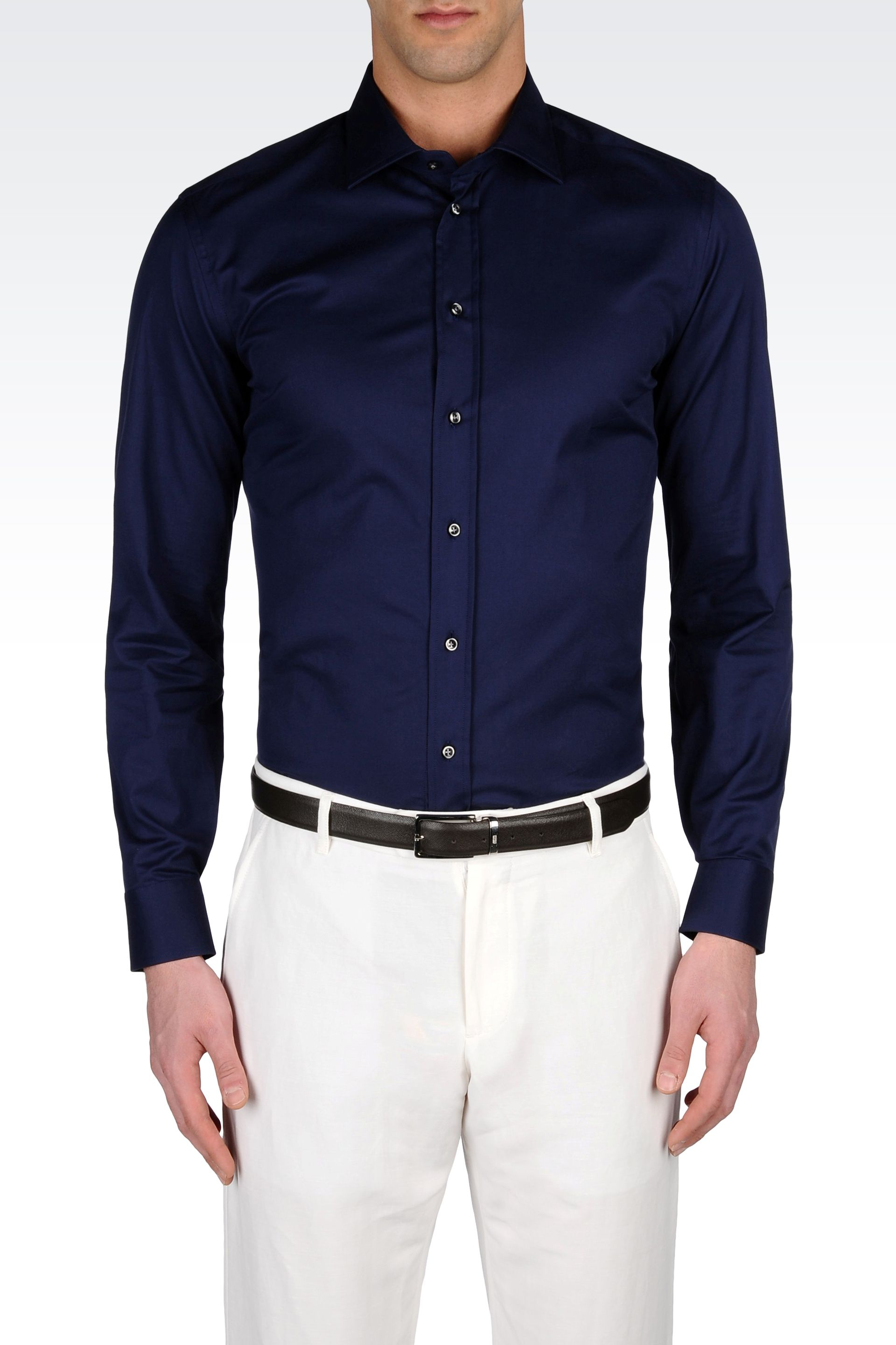 lyst armani stretch cotton shirt with french collar in