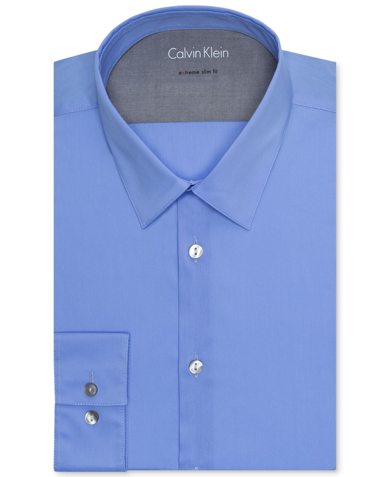 Calvin klein x men 39 s slim fit stretch dress shirt in blue for Calvin klein slim fit stretch shirt