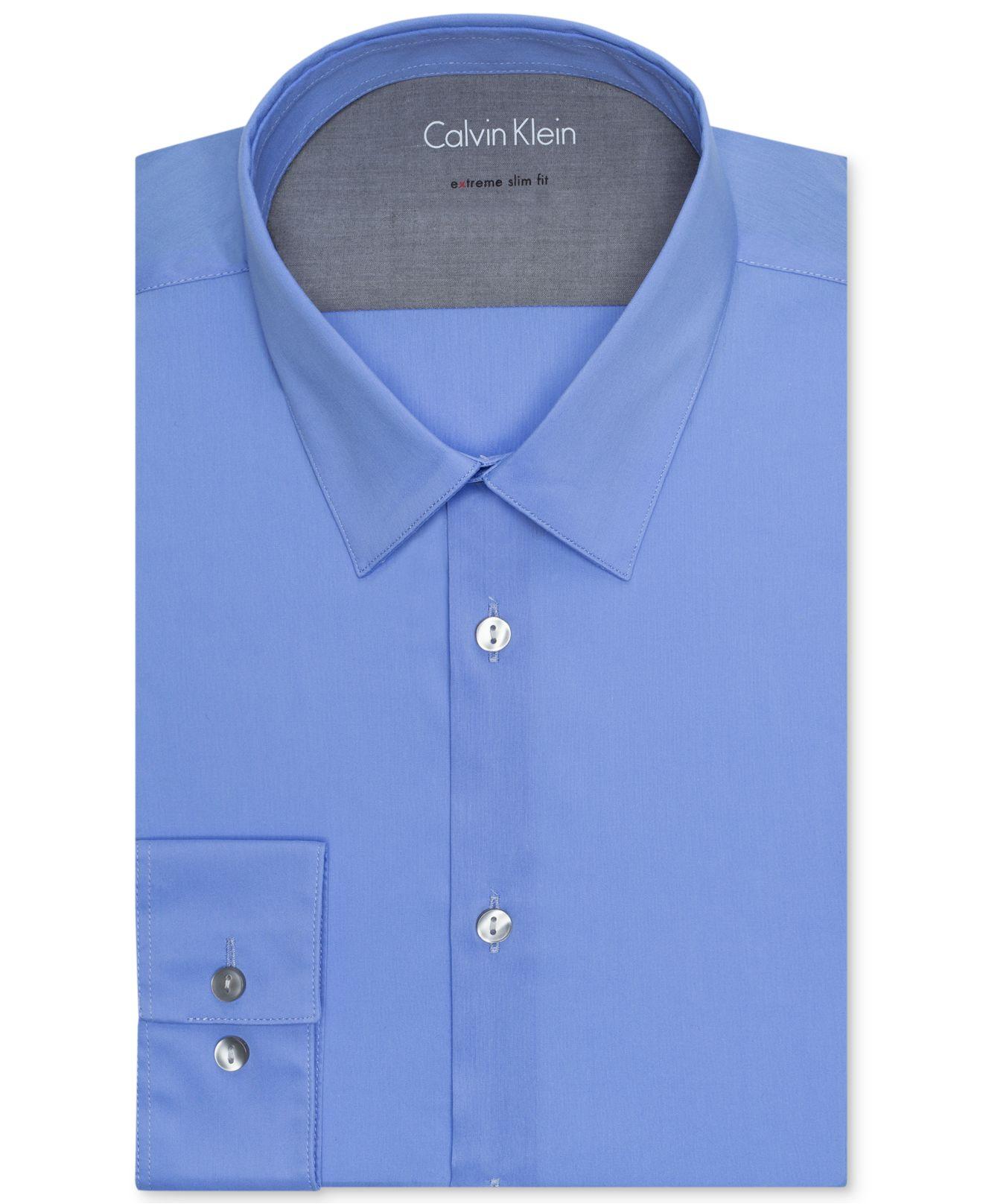 Calvin klein x men 39 s slim fit stretch dress shirt in blue for Calvin klein x fit dress shirt