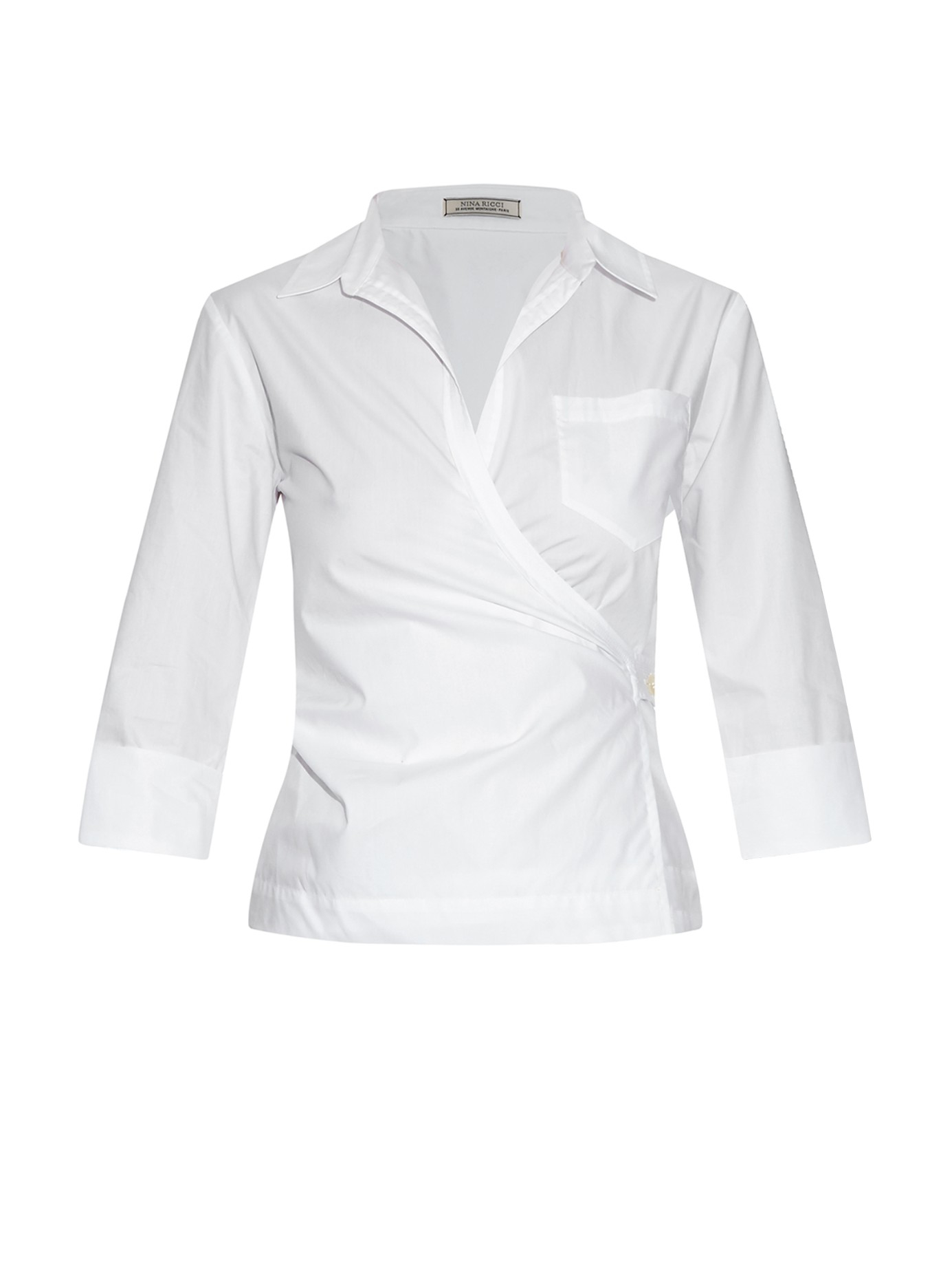 Nina ricci Cotton-poplin Wraparound Shirt in White | Lyst