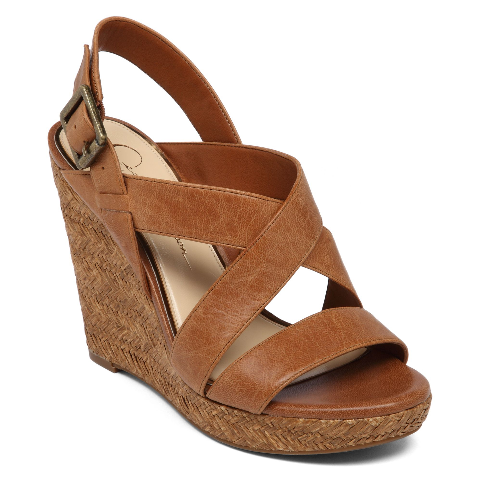 603146ef7a38 Lyst jessica simpson jerrimo platform wedge sandals in brown jpg 2000x2000 Jessica  simpson tan wedges