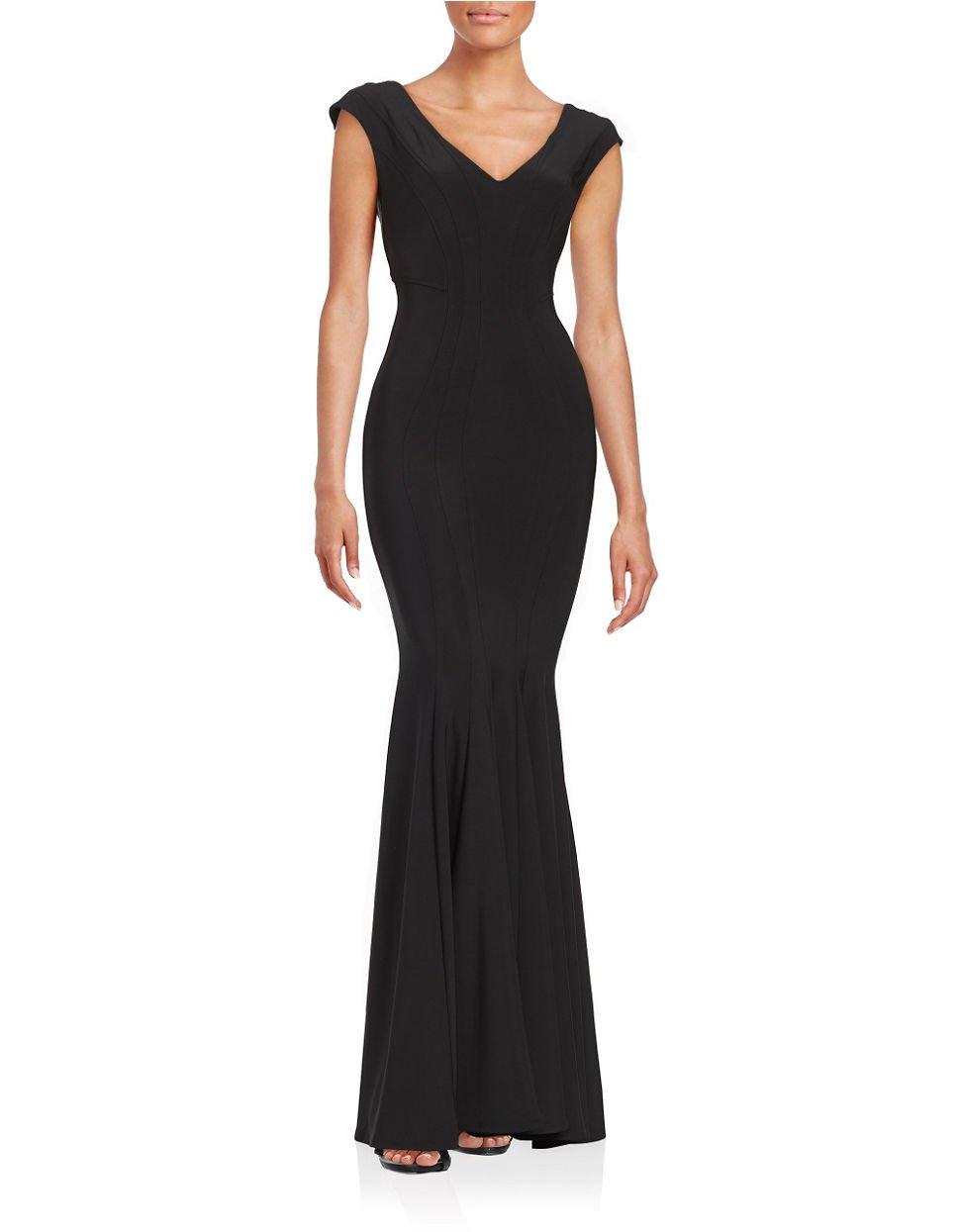 BETSY & ADAM Knit Trumpet Gown BLACK Size 2 #100 NEW | eBay
