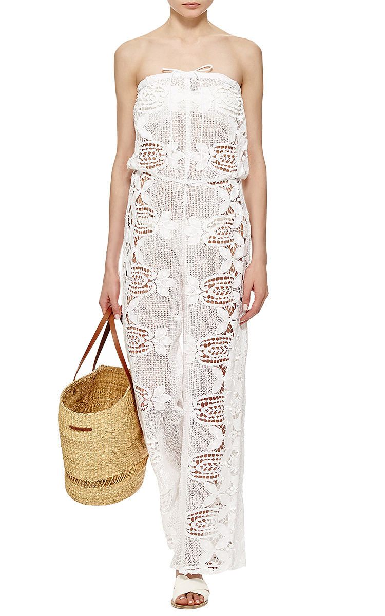 788e458dd007 Lyst - Miguelina Piper Embroidered Strapless Jumpsuit in White