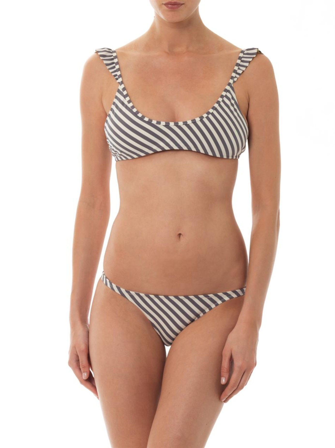 1644f3783a800 Made By Dawn Petal Striped Bikini Top in Gray - Lyst