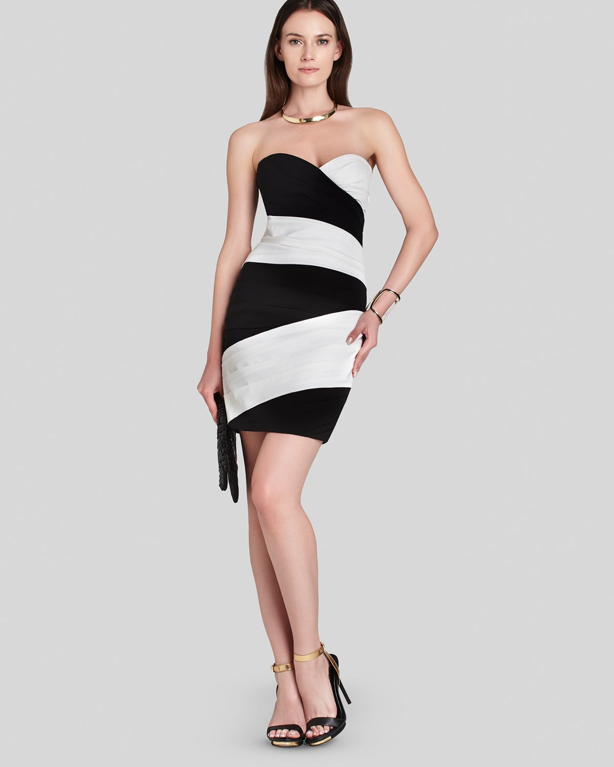 Bcbg black and white cocktail dress