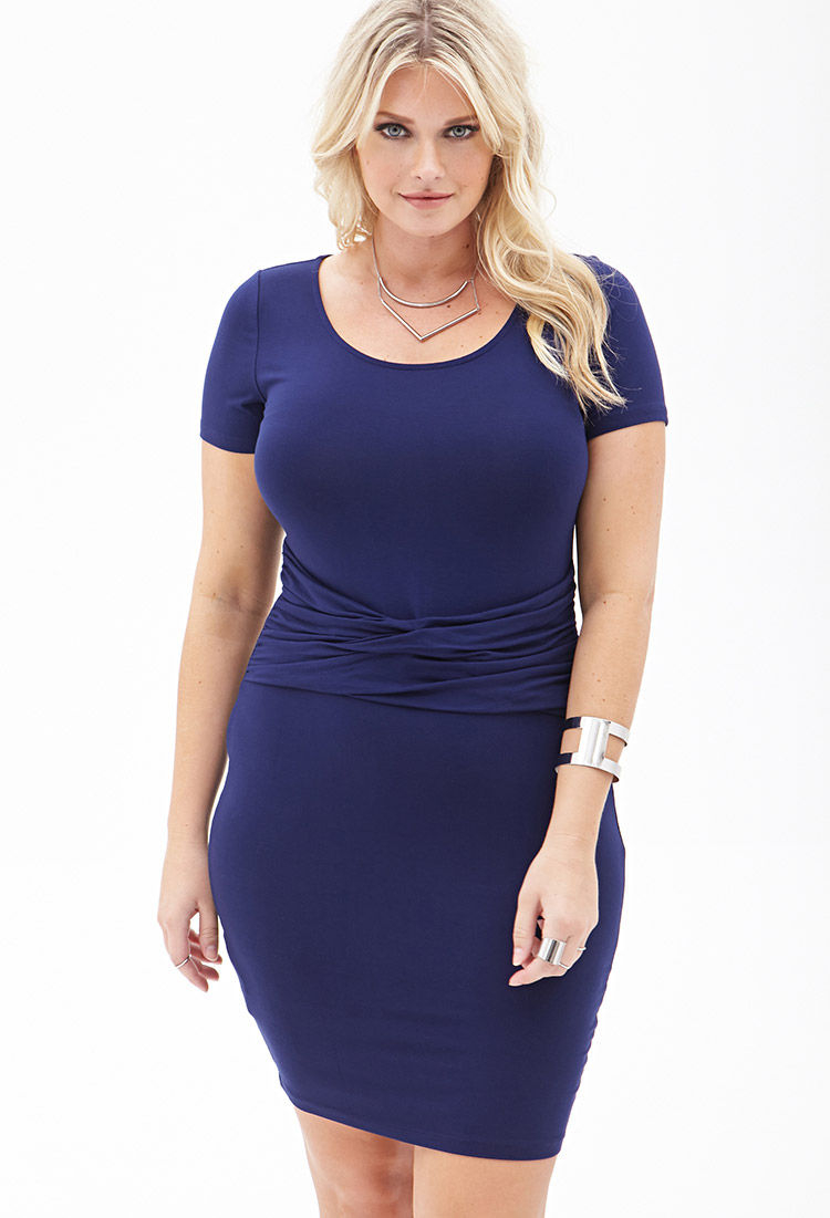 1c573fe1e26 Forever 21 Plus Size Gathered Knit Pencil Dress in Blue - Lyst