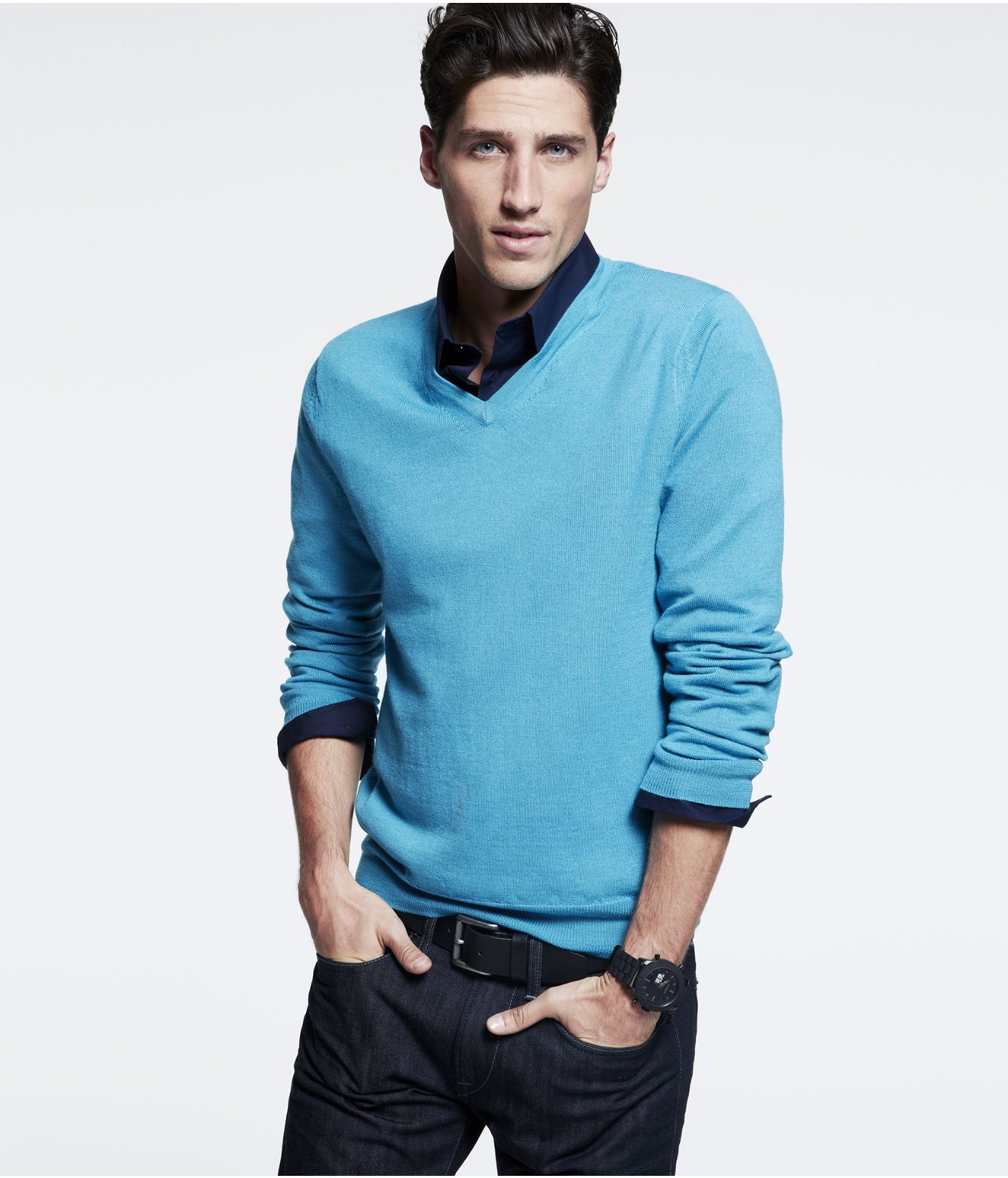 Express Merino Wool V-Neck Sweater in Blue for Men | Lyst