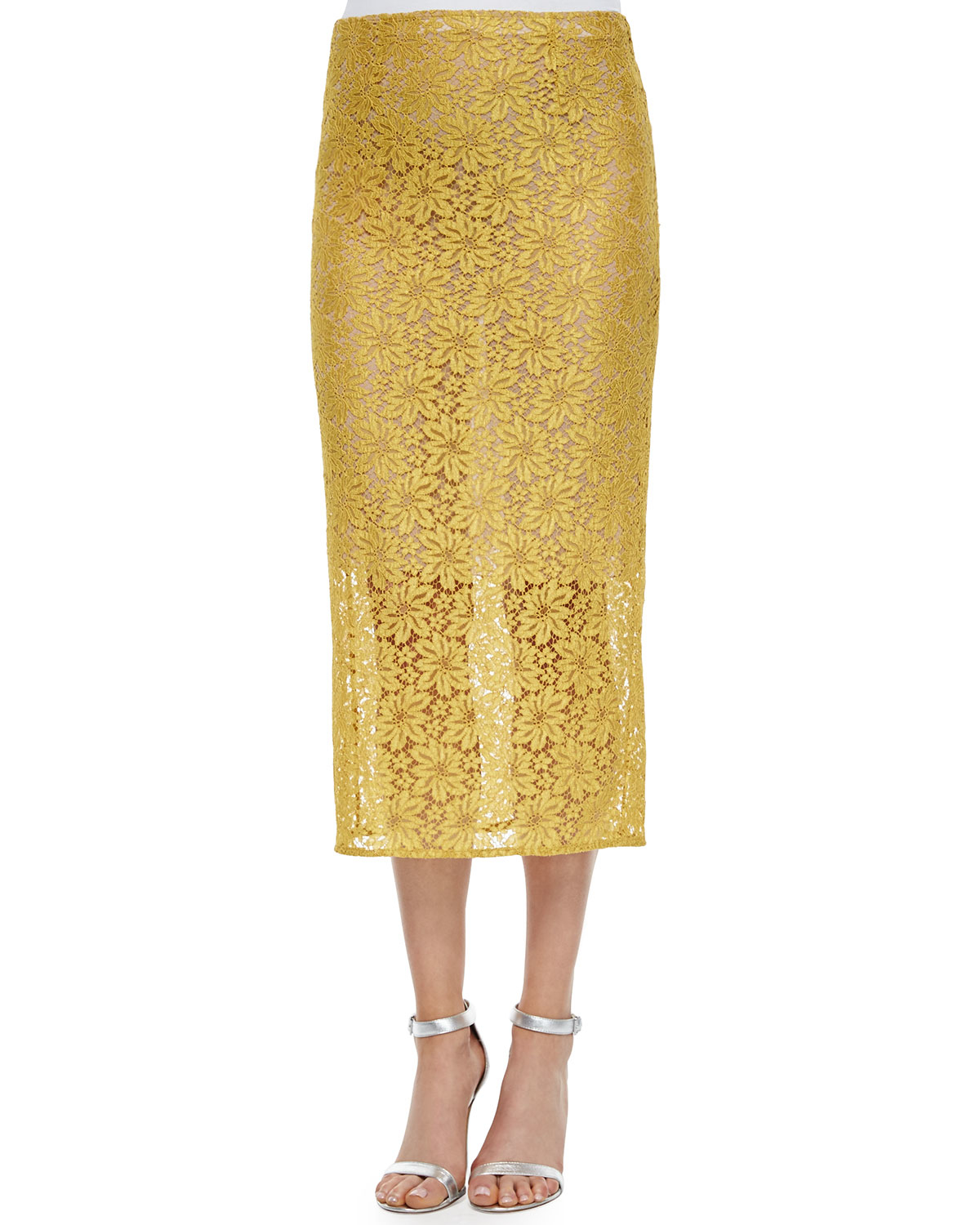acne studios allover lace pencil skirt in yellow lyst