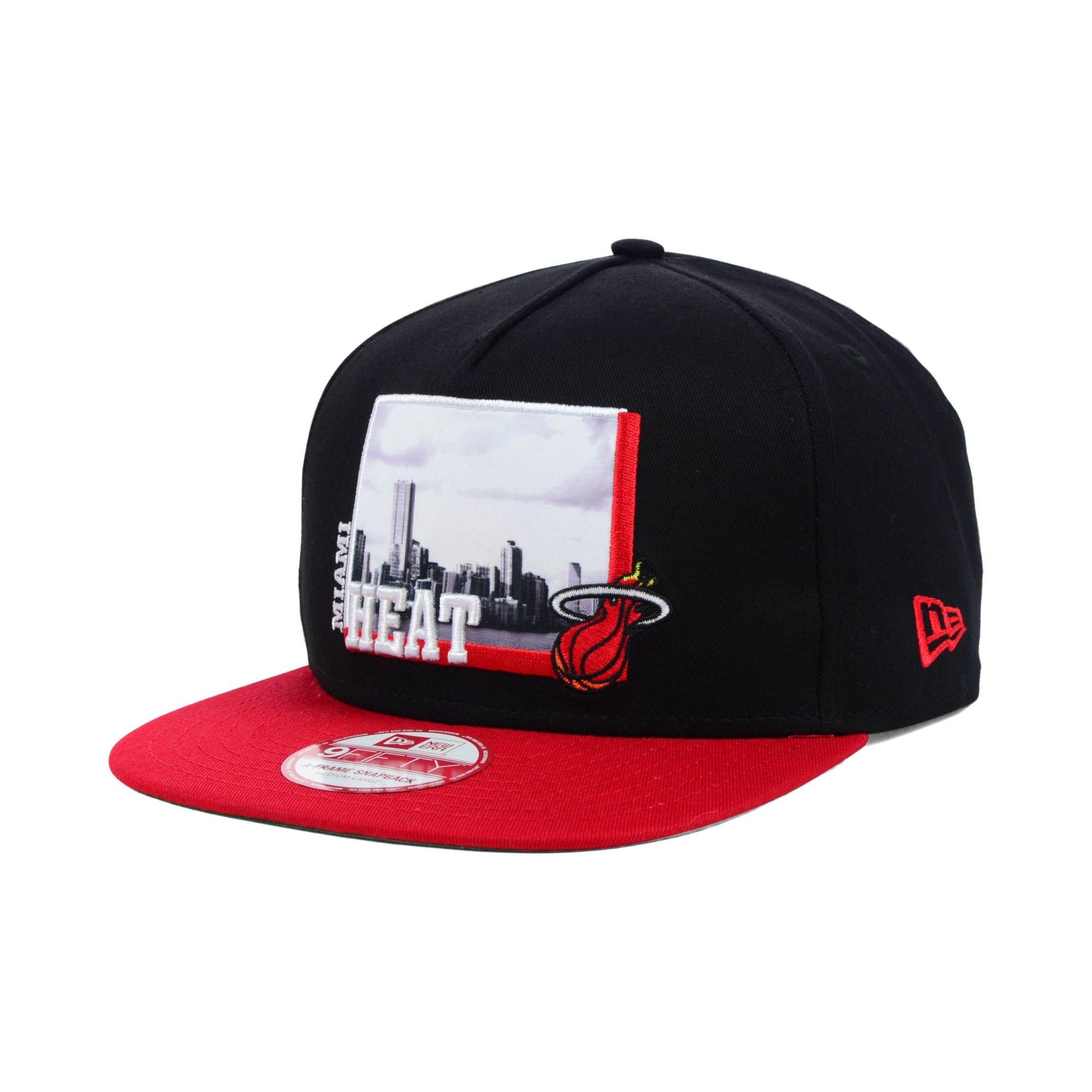 san francisco 86d5b 4d8b2 KTZ Miami Heat Nba Hardwood Classics 9fifty Snapback Cap in Black ...