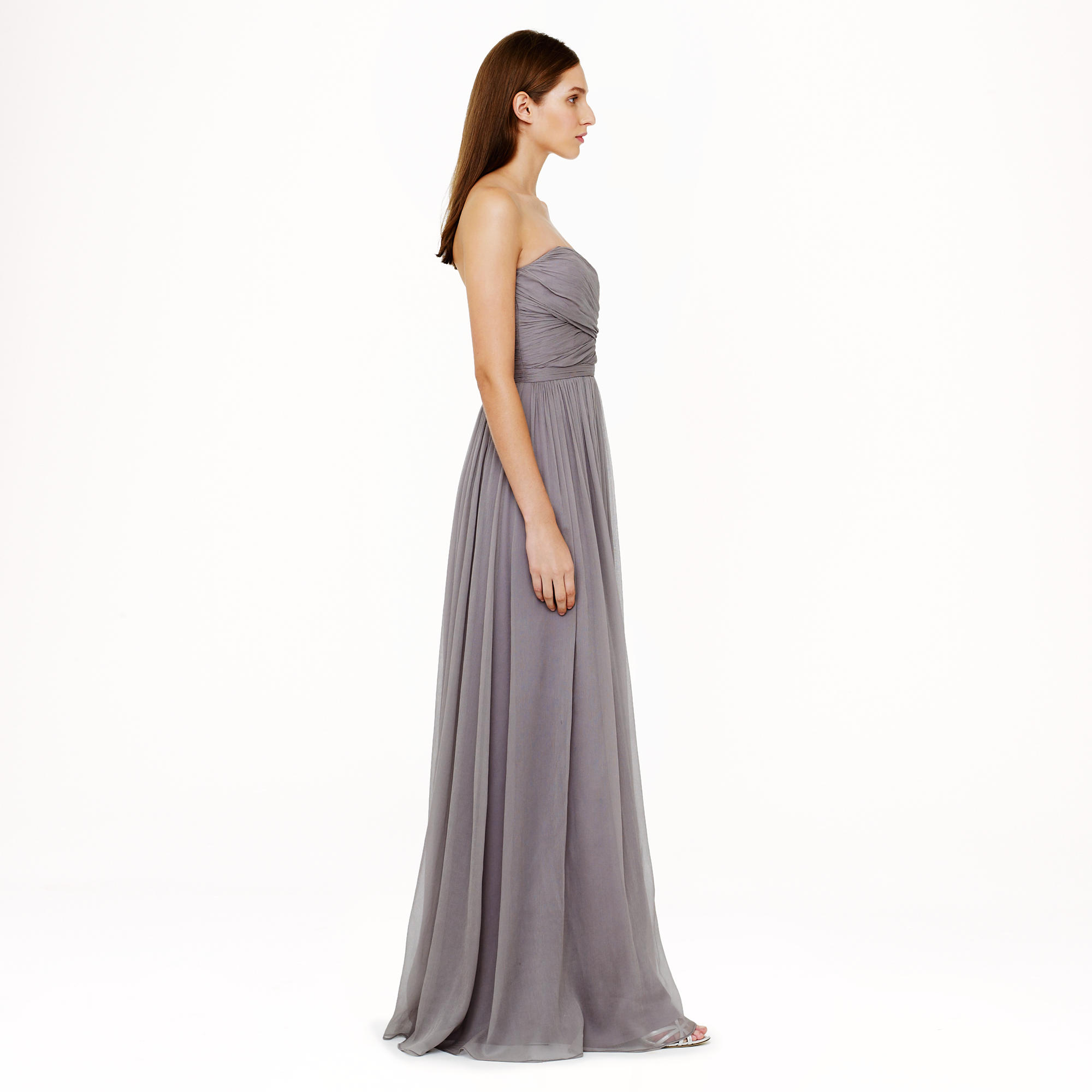 Lyst - J.Crew Petite Arabelle Long Dress In Silk Chiffon in Gray