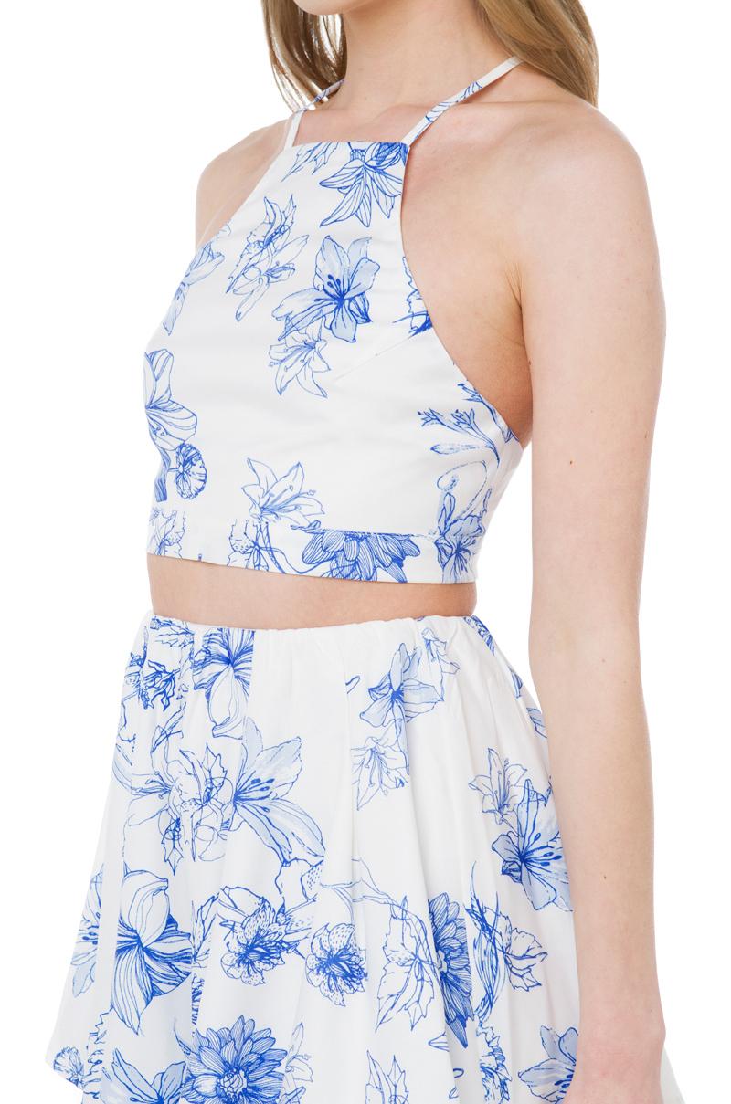 Lyst akira black label sweetest love blue white floral print gallery mightylinksfo