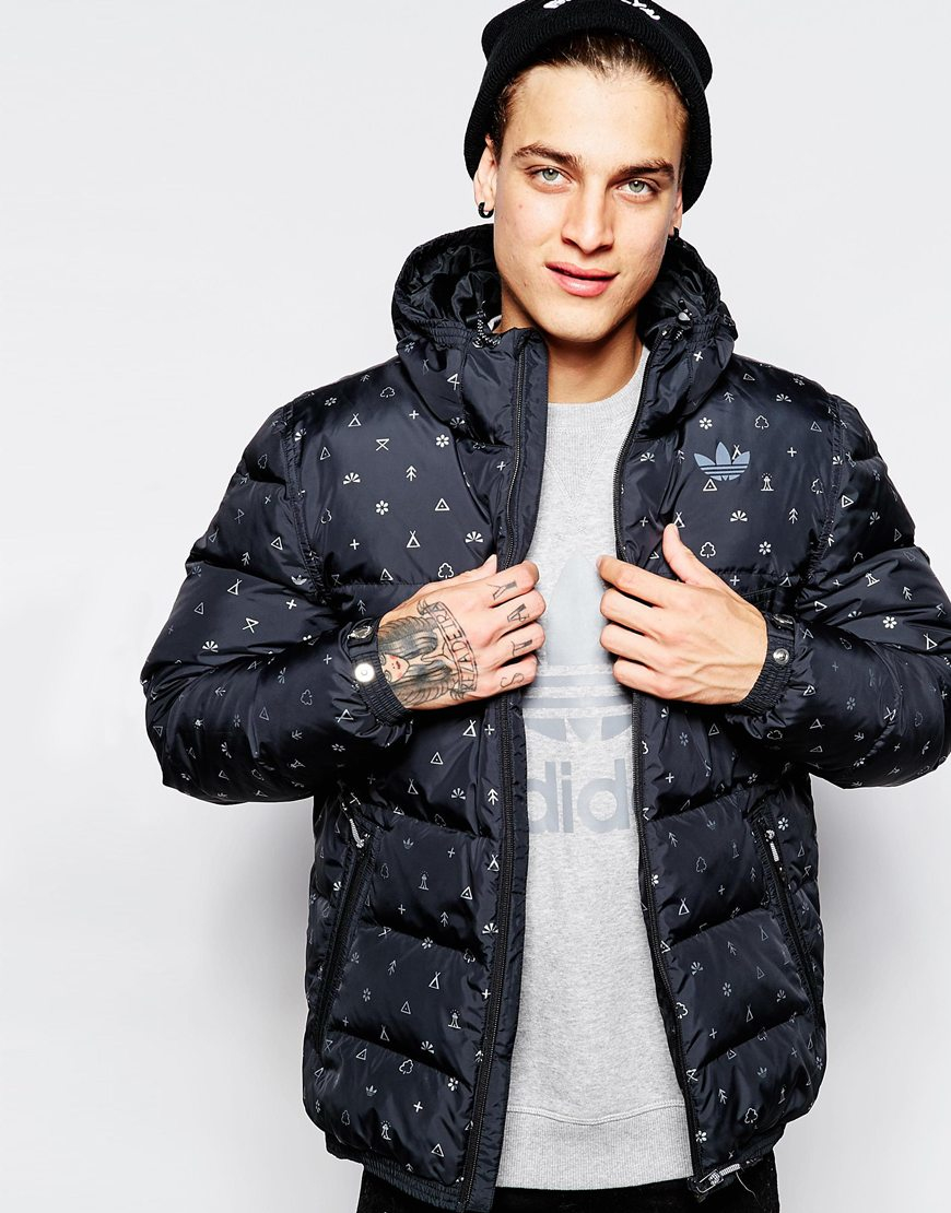 Adidas originals Padded Down Jacket Ab7808 in Black for Men | Lyst